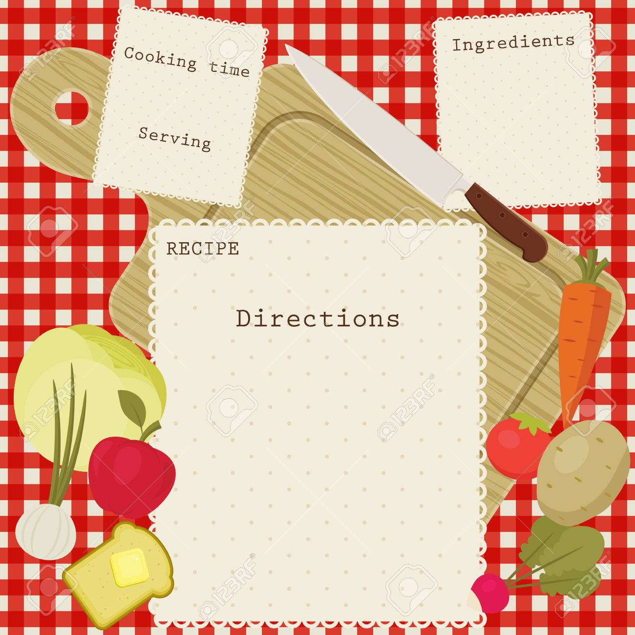 recipe card with space for directions, ingredients, cooking time and serving. Fruits and vegetables, cutting board and knife over checkered tablecloth. - 51335015