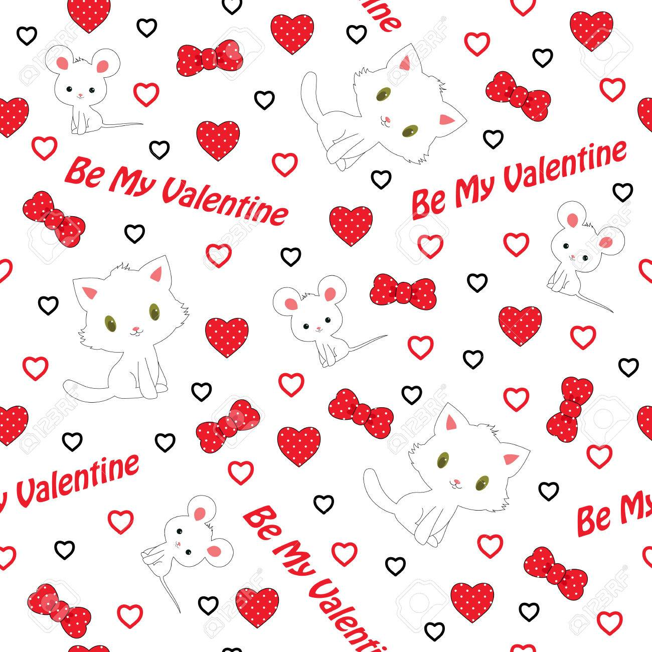 Patrón Sin Fisuras Día De San Valentín. Gatito Blanco Y Ratón Blanco ...