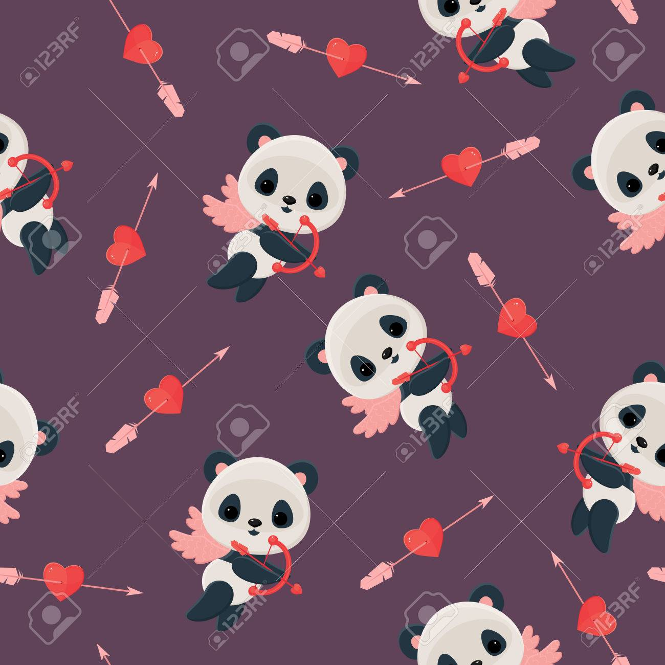 Seamless pattern with panda cupid. Saint Valentine's Day wallpaper. Panda cupid with bow,