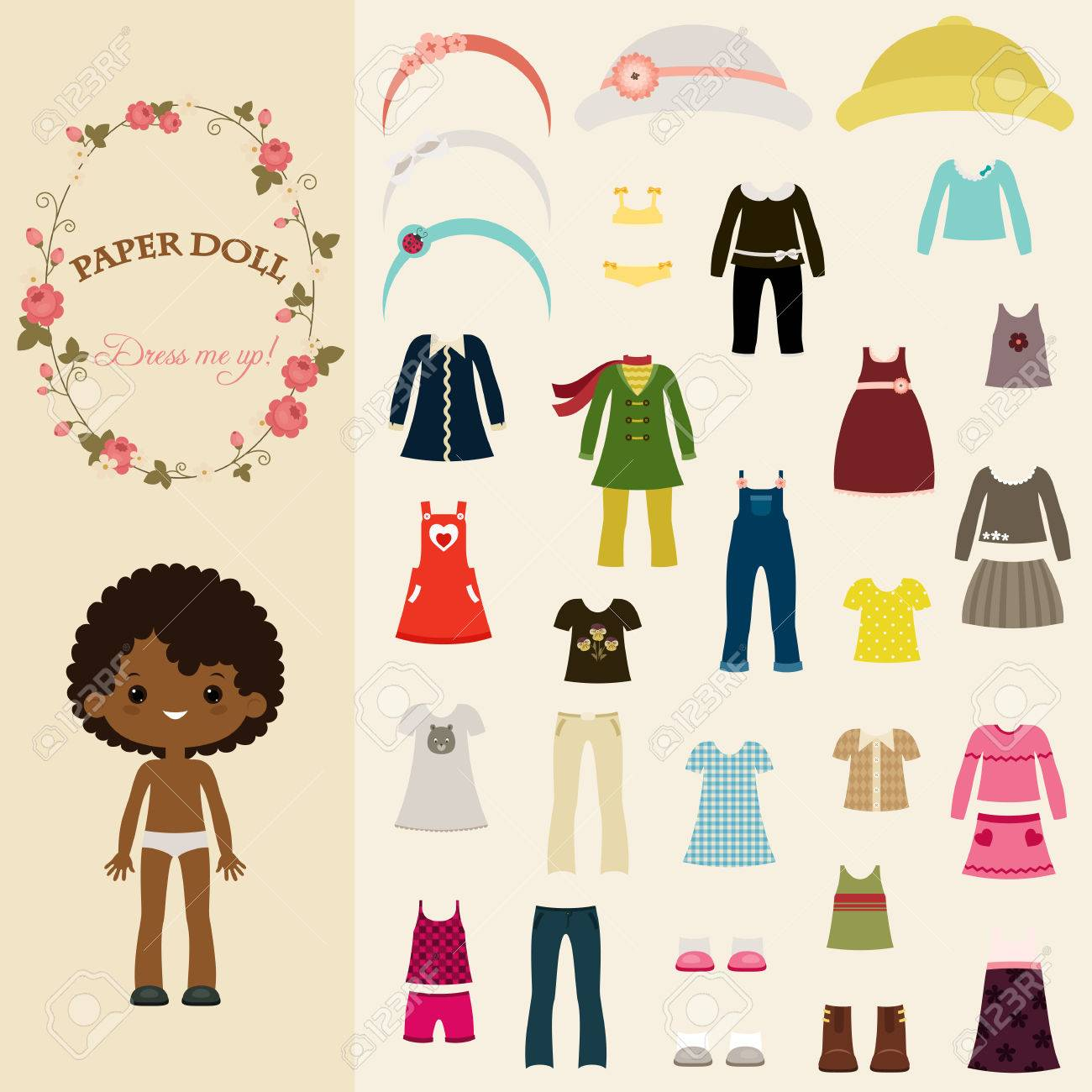 Cute dress up paper doll with body template of black girl Stock Vector ,  55999281