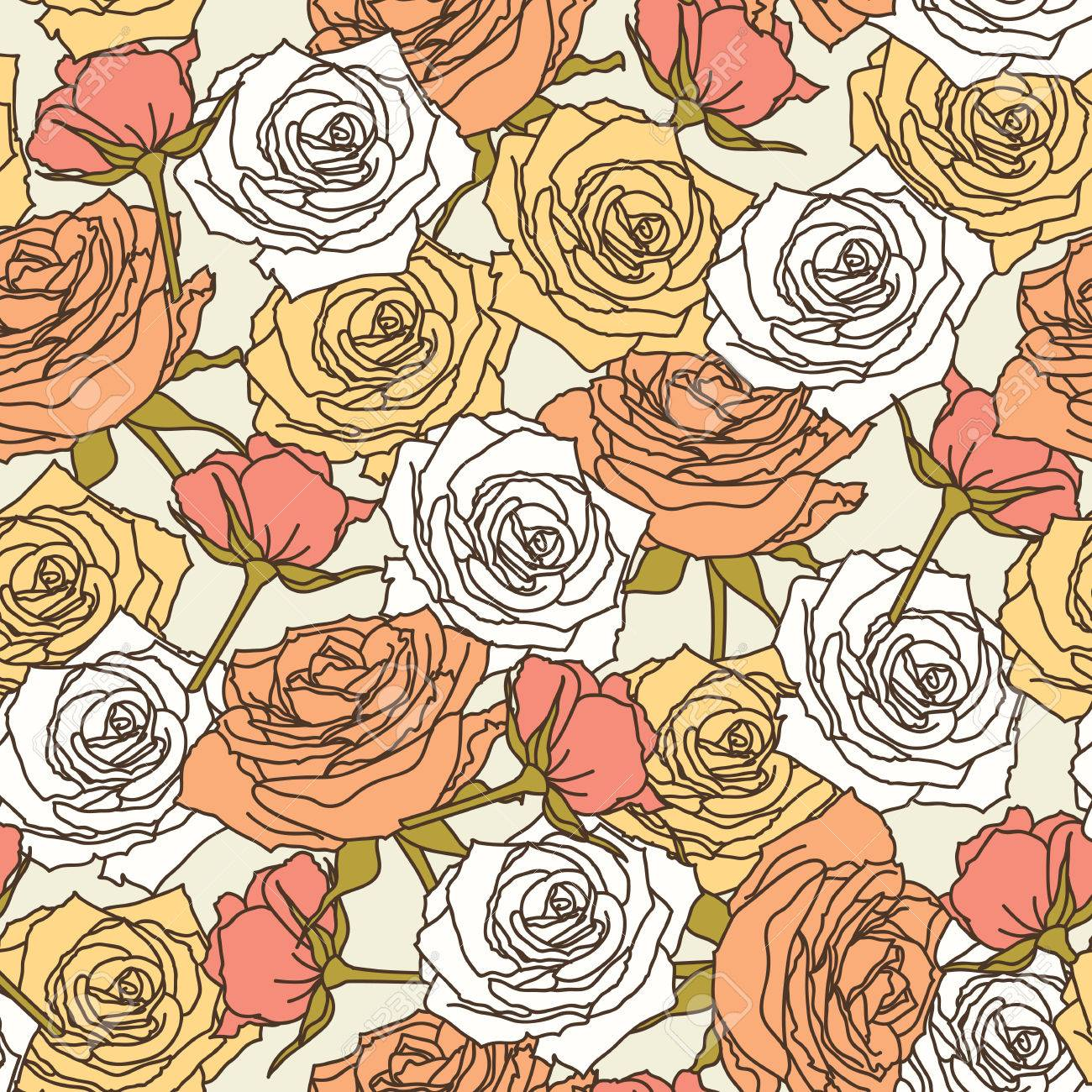 Vector Colorful Floral Print Seamless Pattern Background In Peach