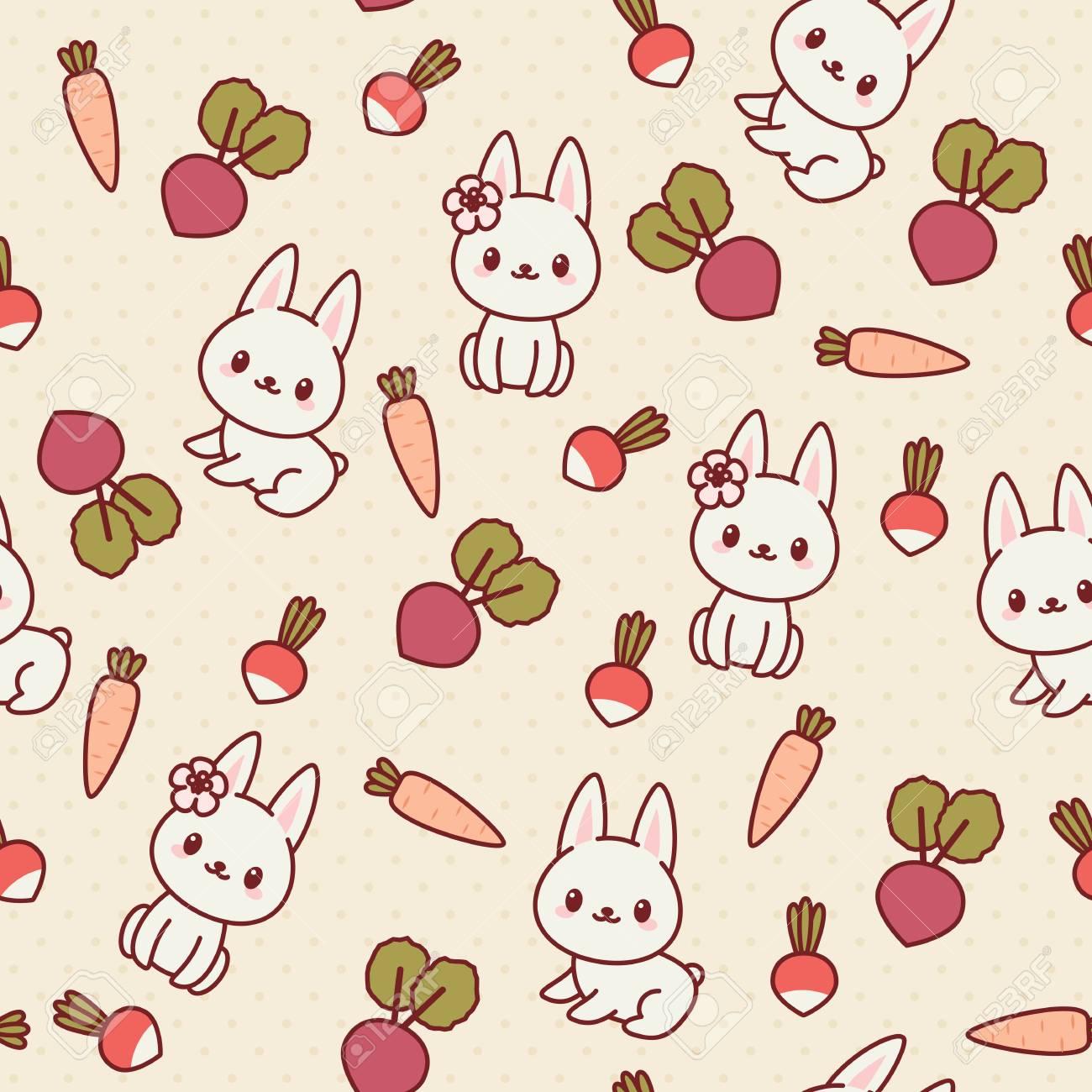 白ウサギ うさぎと野菜 かわいいシームレスな壁紙 ベクトル パターン