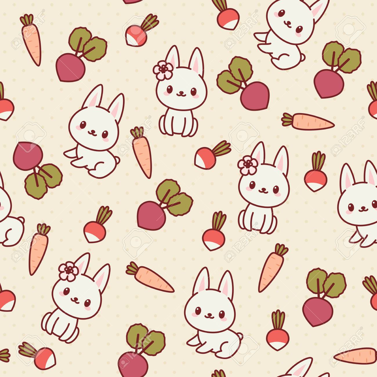 White Bunny Rabbit With Vegetables Kawaii Seamless Wallpaper