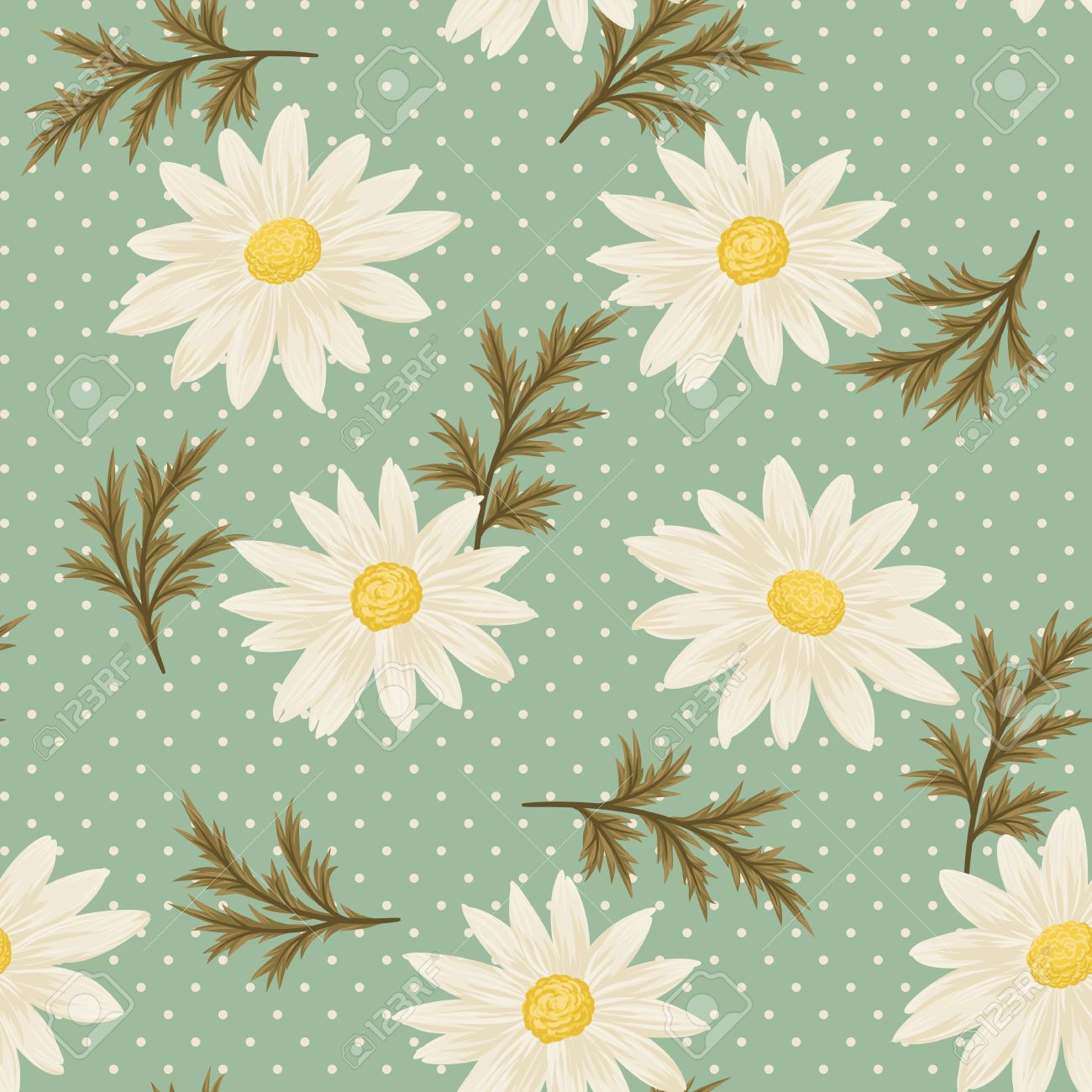 Seamless Pattern With Daisies And Green Leaves On Vintage Blue Background Vector Daisy Wallpaper