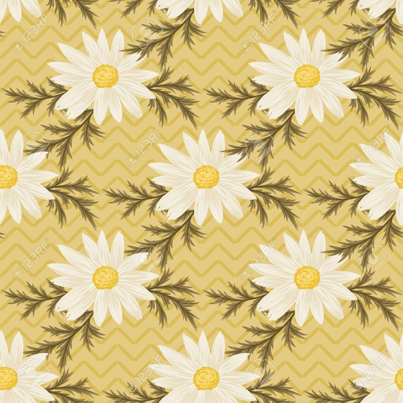 Seamless Pattern With Daisies And Green Leaves On Yellow Chevron Background Vector Daisy Wallpaper