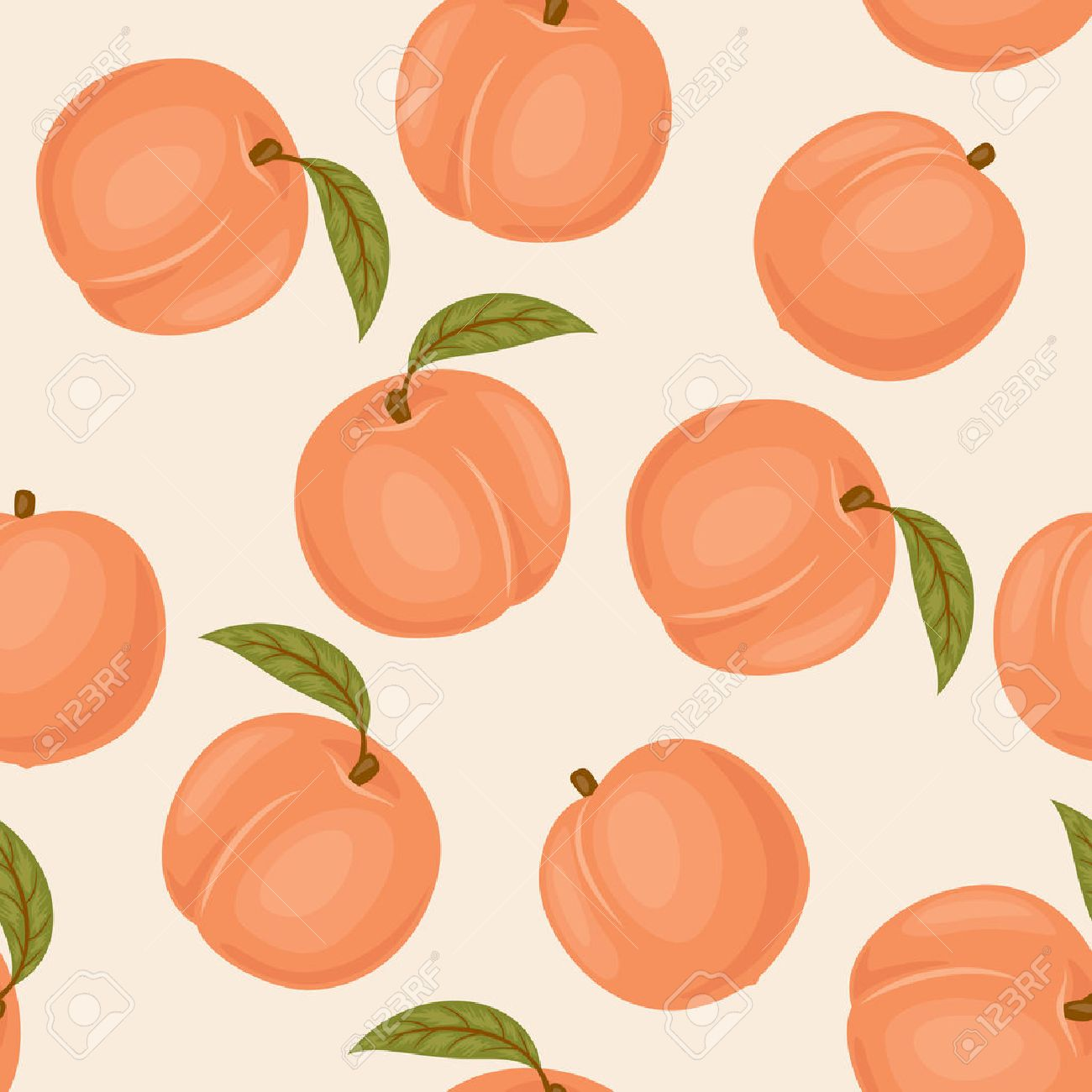 Peach Seamless Pattern Peach Vector Wallpaper Peaches With