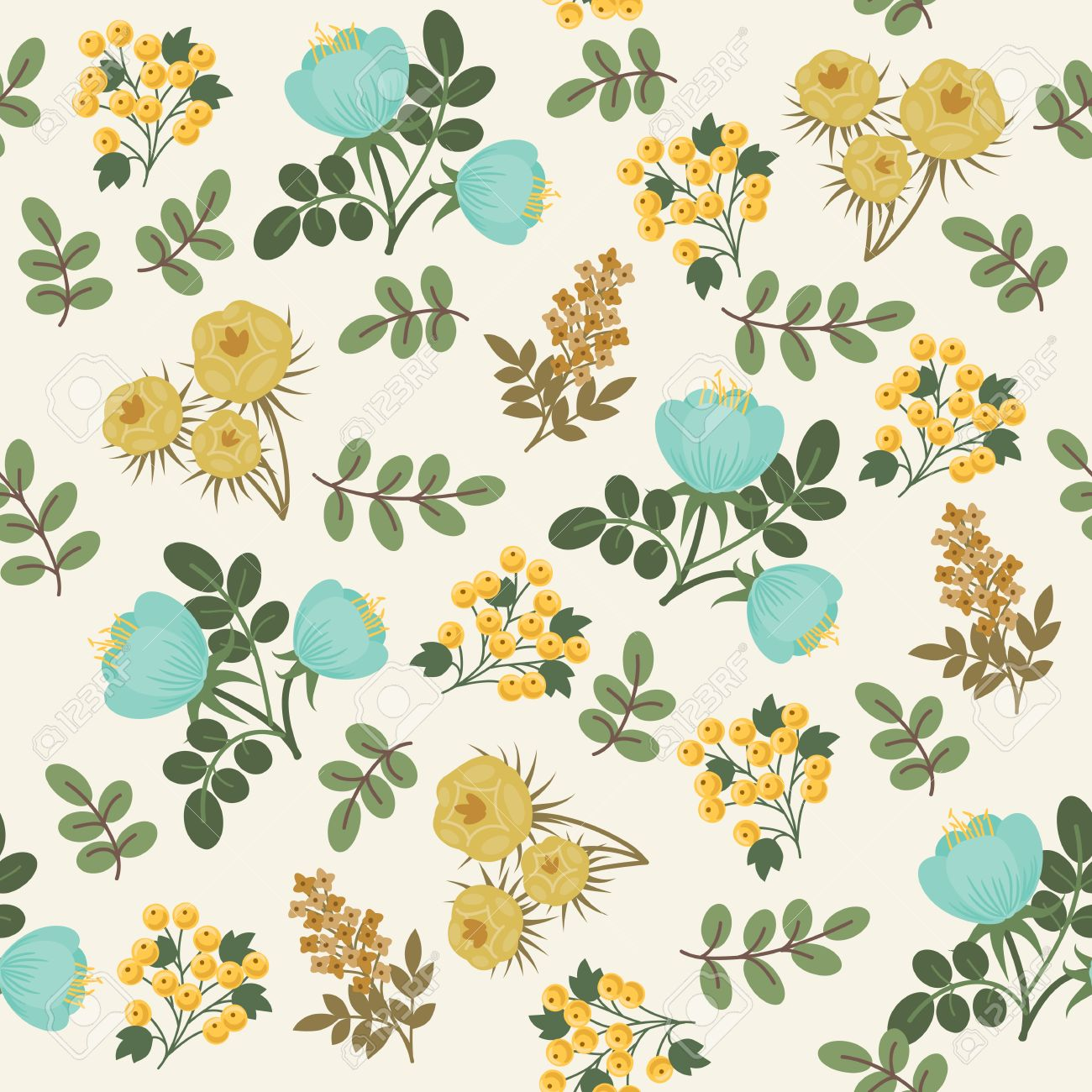 Floral Seamless Pattern Blue And Yellow Flowers With Green Leaves