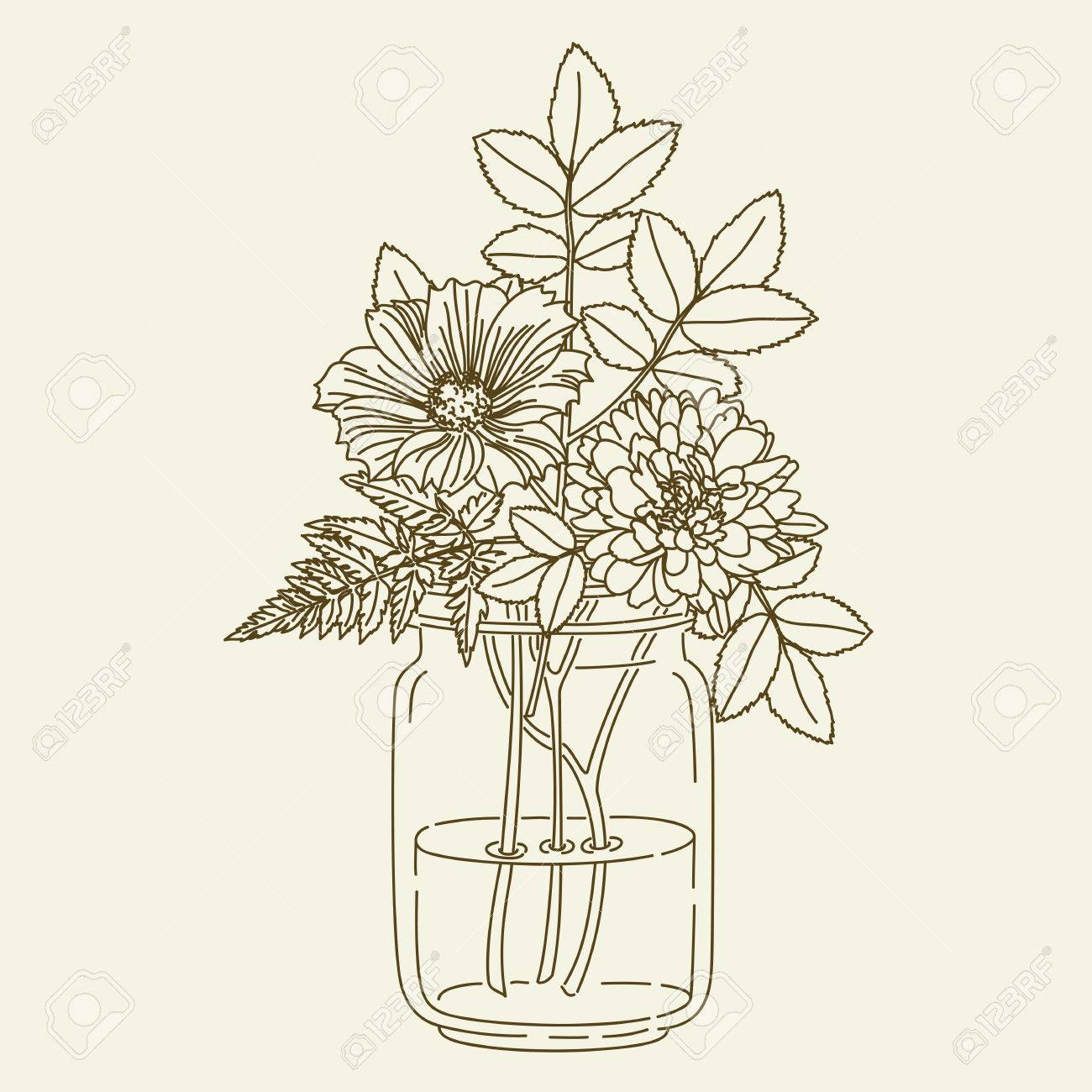 Hand Drawn Flowers In Mason Jar Illustration Coloring Page Stock Vector