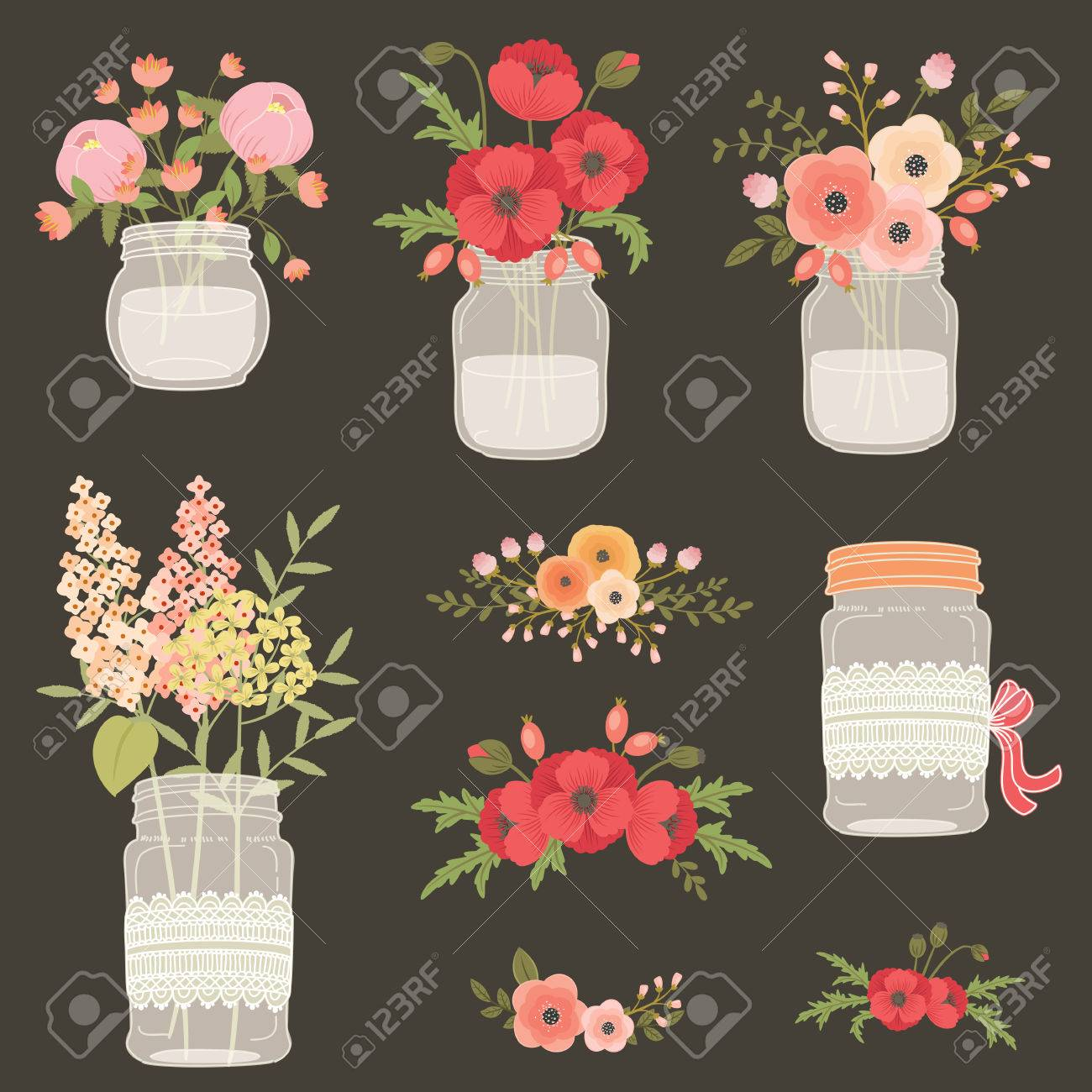 Flowers In Mason Jars Hand Drawn Illustration Poppy Flowers