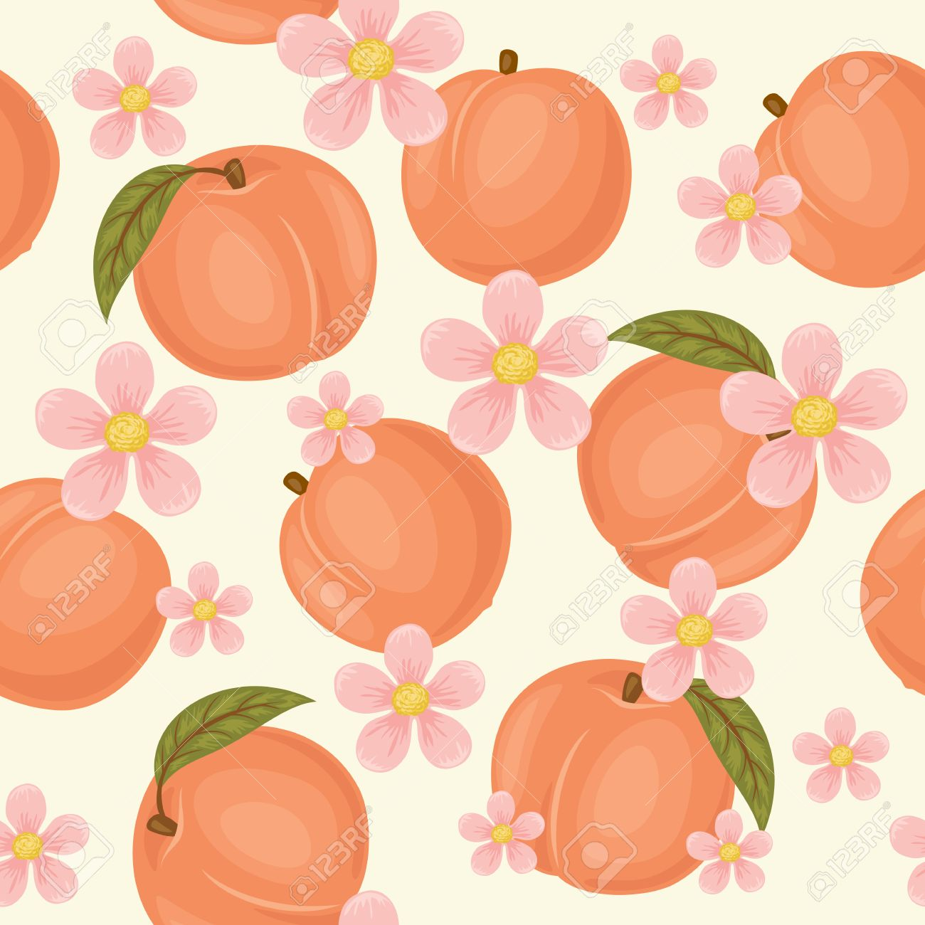 Peach Seamless Pattern Peach Wallpaper Peaches With Green Leaves