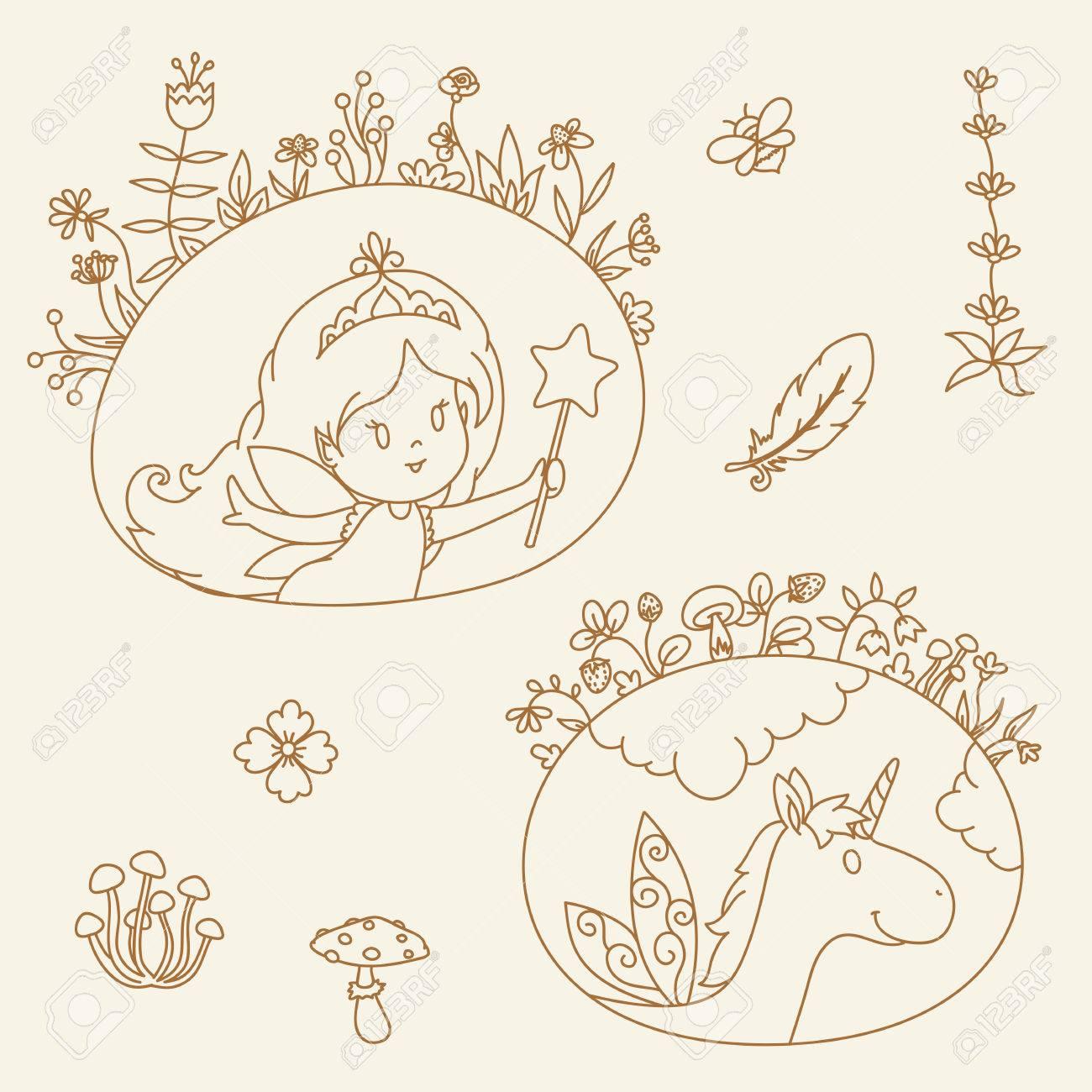 Hada Y Unicornio En Cuadros De Flores Dibujado A Mano Ilustracion