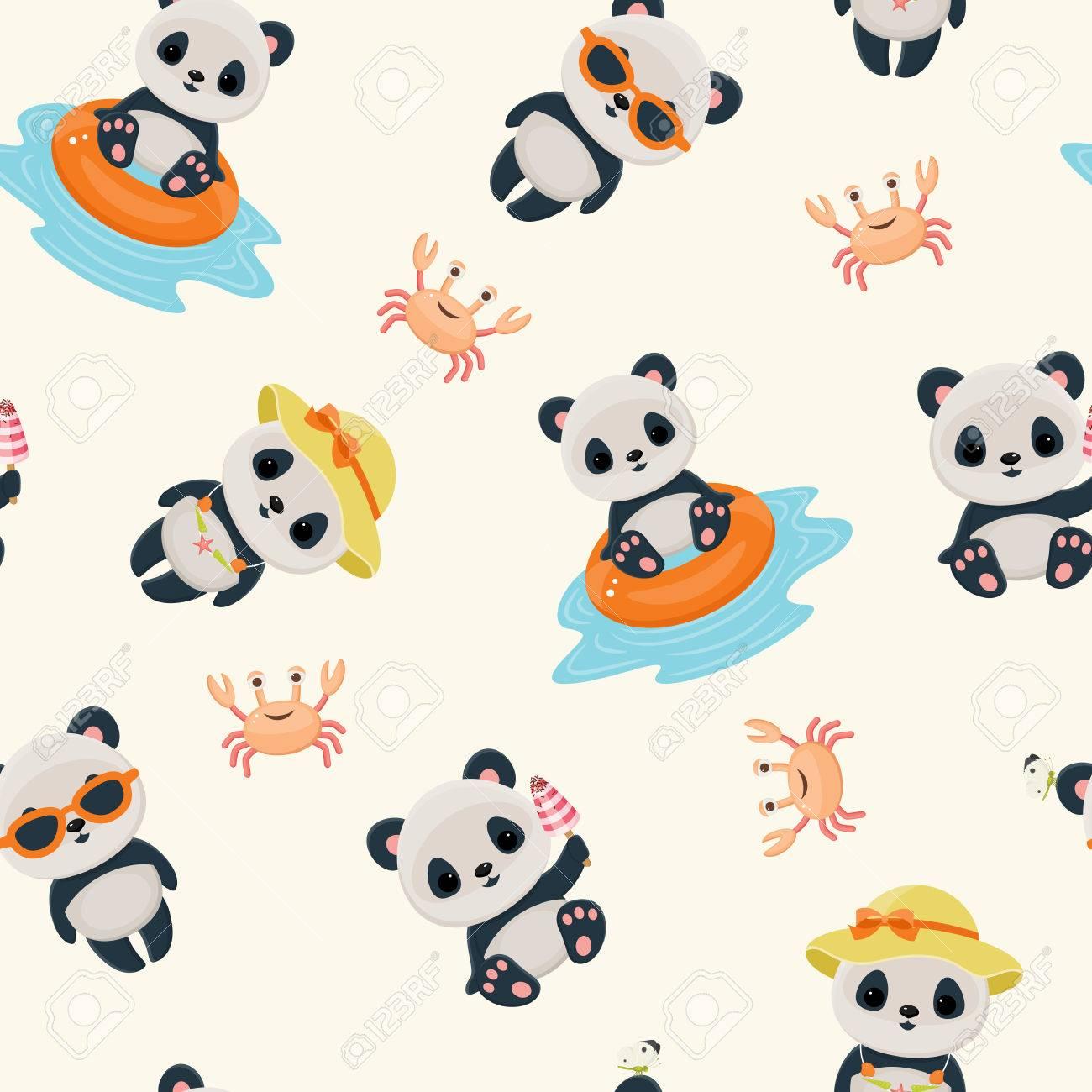 Panda during summer time seamless pattern. Cute asian bear. Hot summer days. Summer