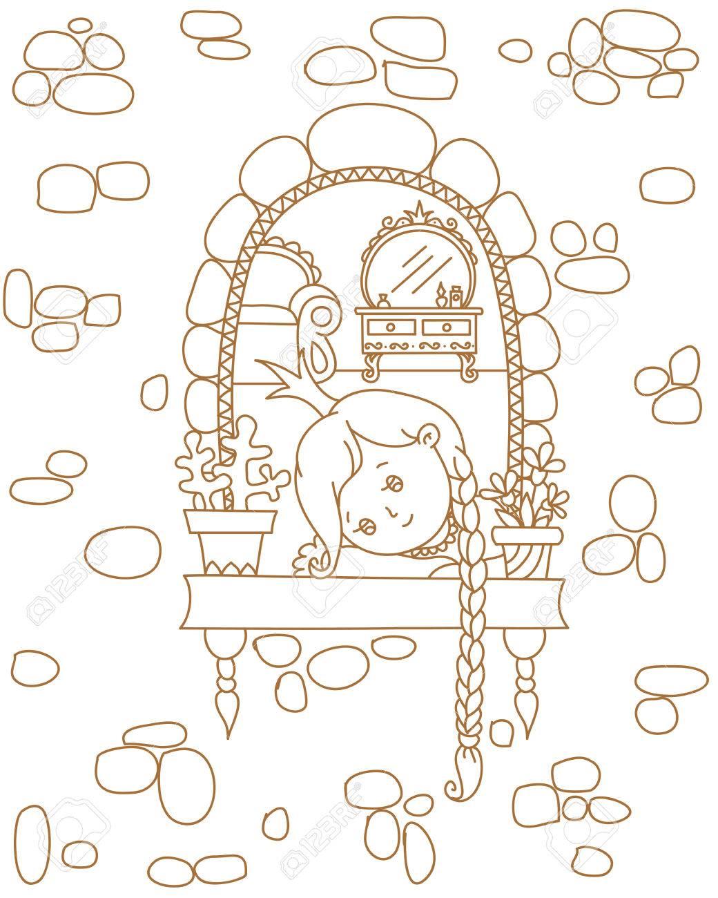 La Mano De Cuento De Hadas Dibujado La Ilustración Princesa Triste En Una Ventana Lineal Sin Color Ilustración Vectorial Plantilla De Página Para