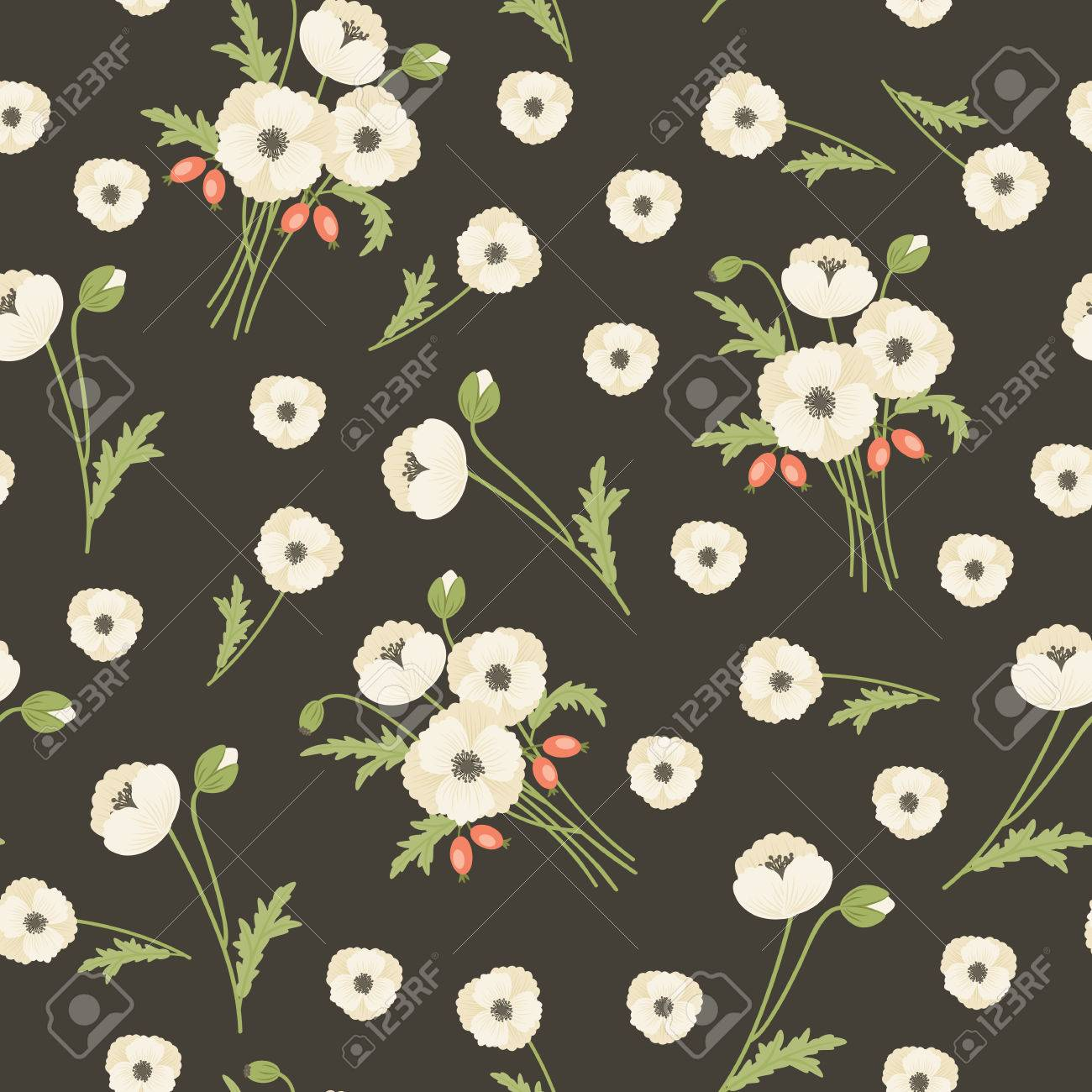 White Poppy Flowers With Leaves On Dark Background Seamless