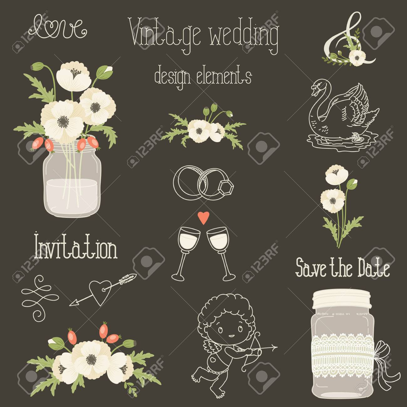 Rustic Wedding Design Elements With White Poppy Flowers Vector Set Of Vintage Hand Drawn Clip