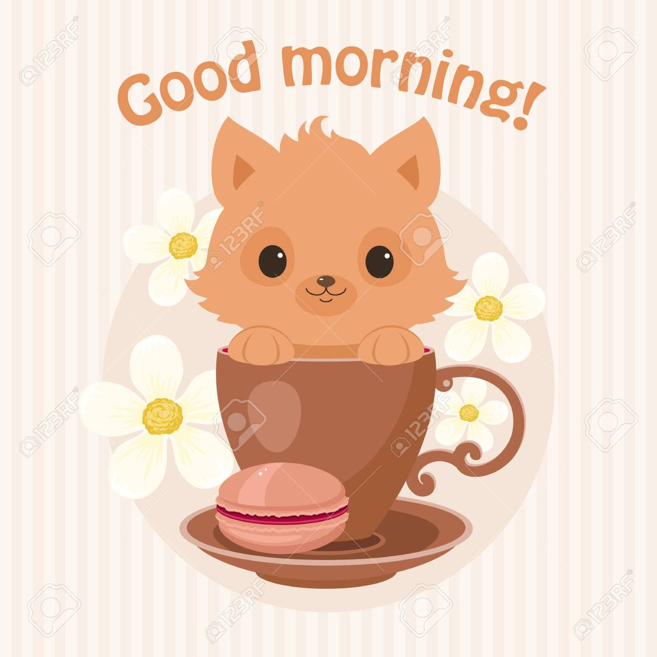Brown kitten/cat in a tea cup vector illustration  Cute curious