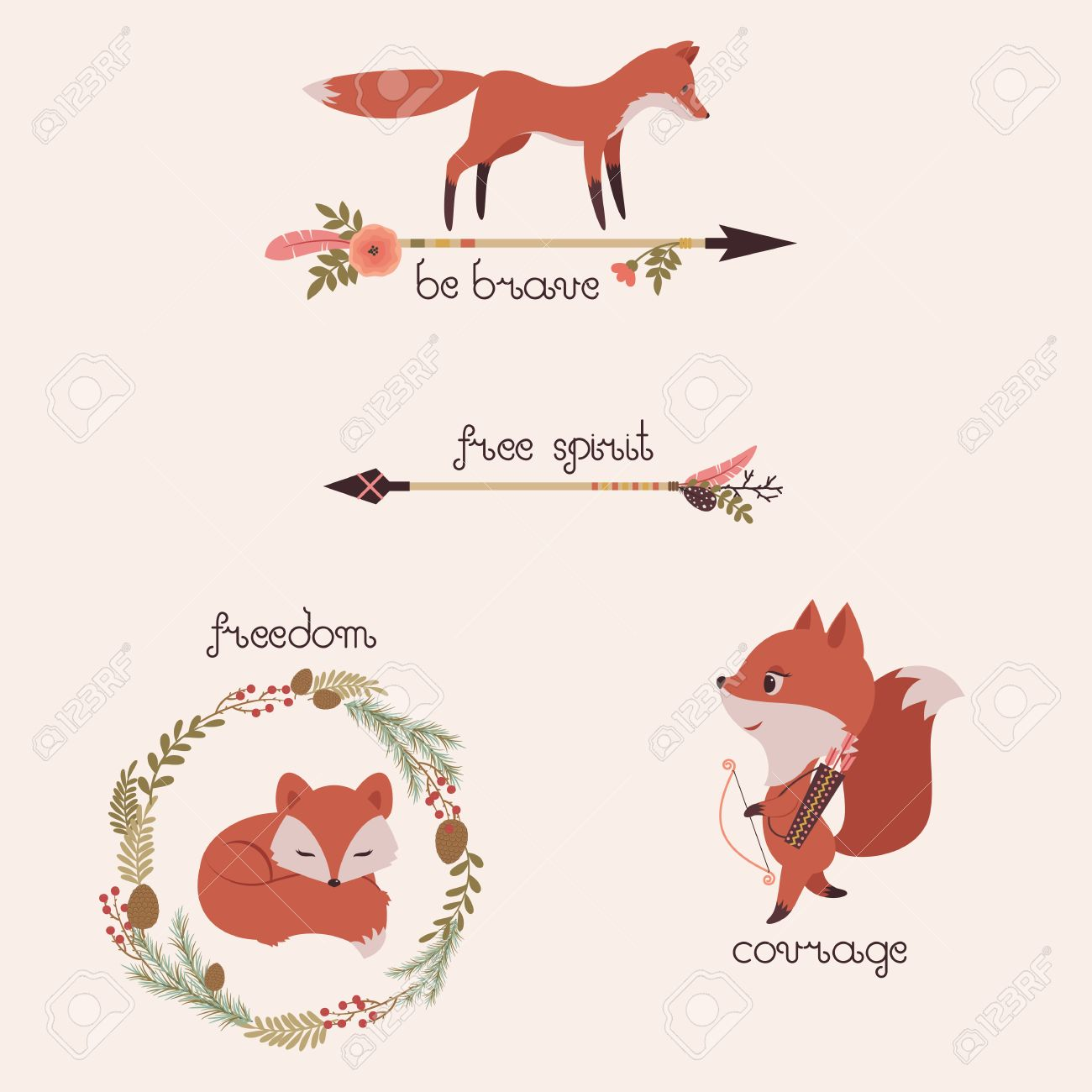three foxes illustrations with floral arrows and wreath original