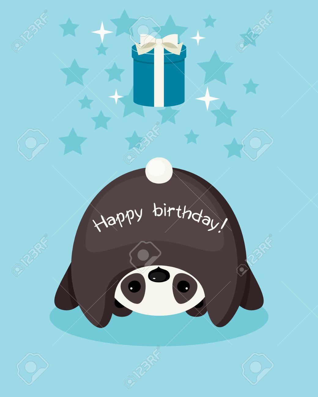 Birthday card upside down panda wishing a happy birthday gift birthday card upside down panda wishing a happy birthday gift box with bow bookmarktalkfo Choice Image