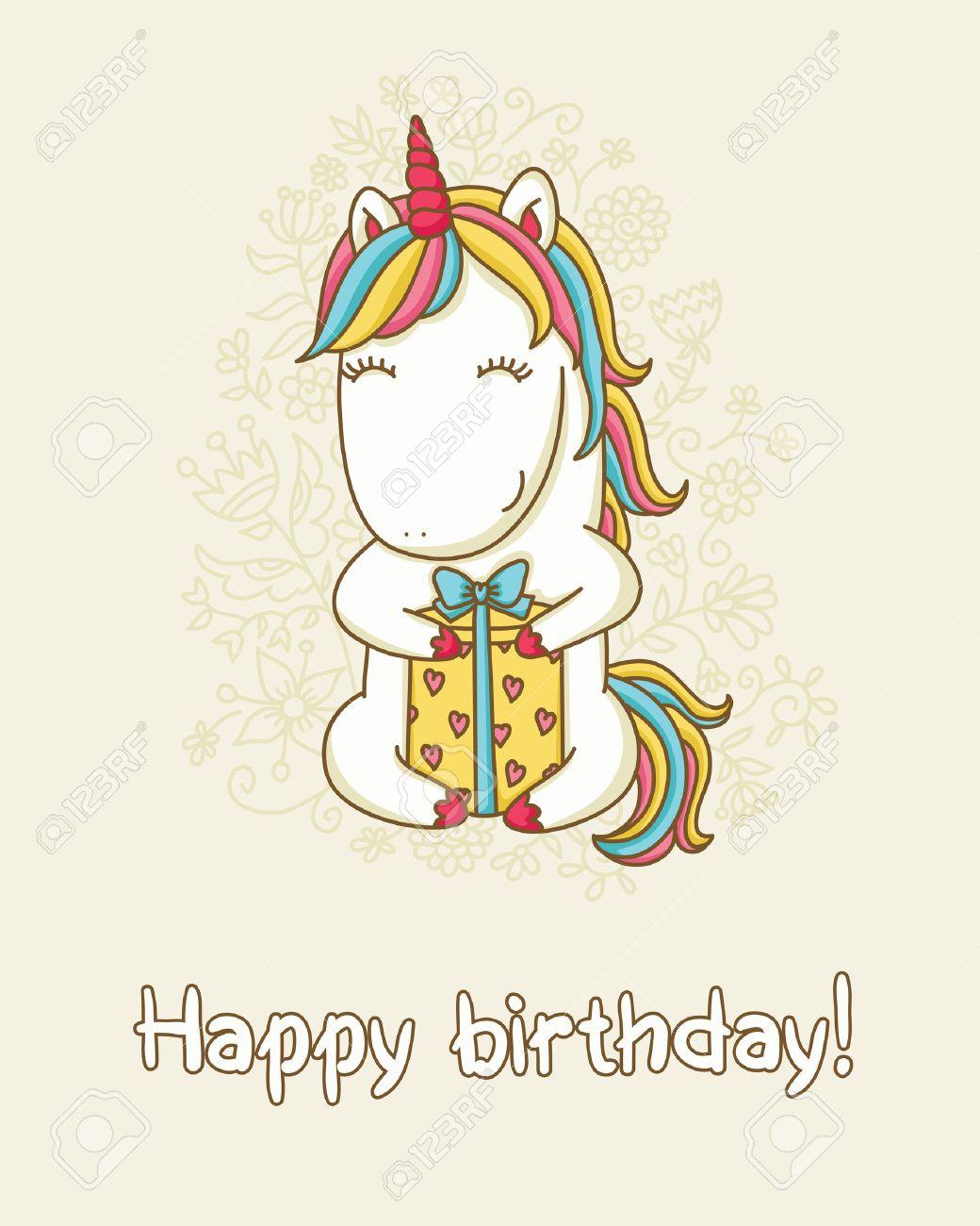 Geburtstagskarte Glückliches Einhorn Mit Einem Geschenk Box Text
