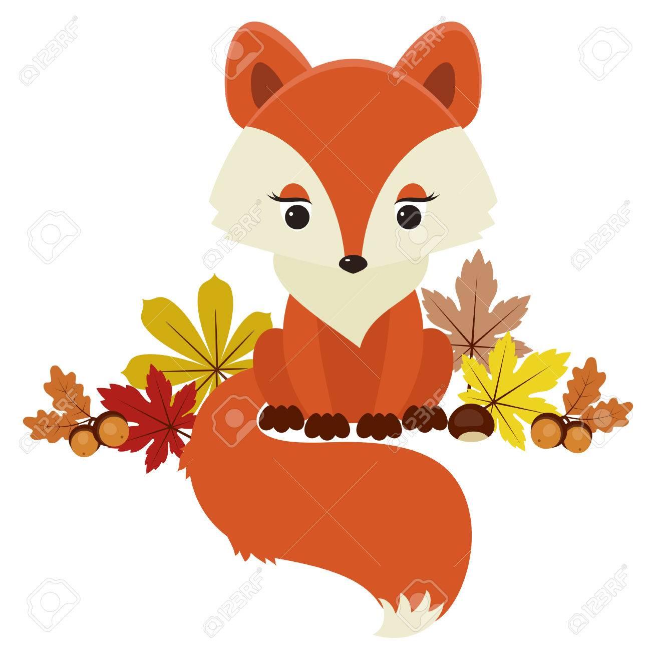 Fox Neben Herbst Herbst Blätter Eicheln Und Kastanien Vektor