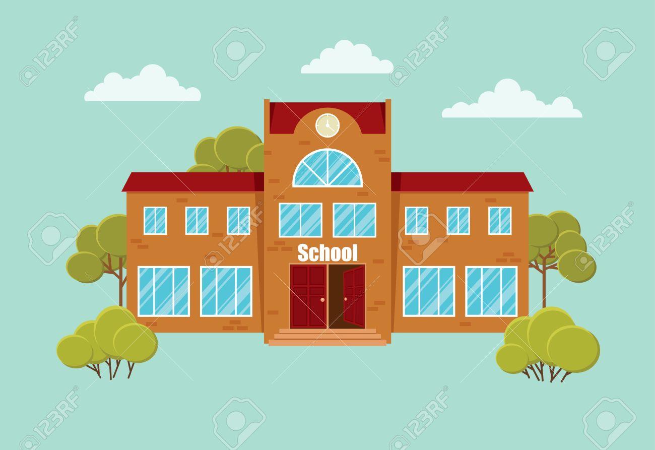 flat cartoon school building with trees and bushes vector rh 123rf com cartoon drawing school building cartoon high school building