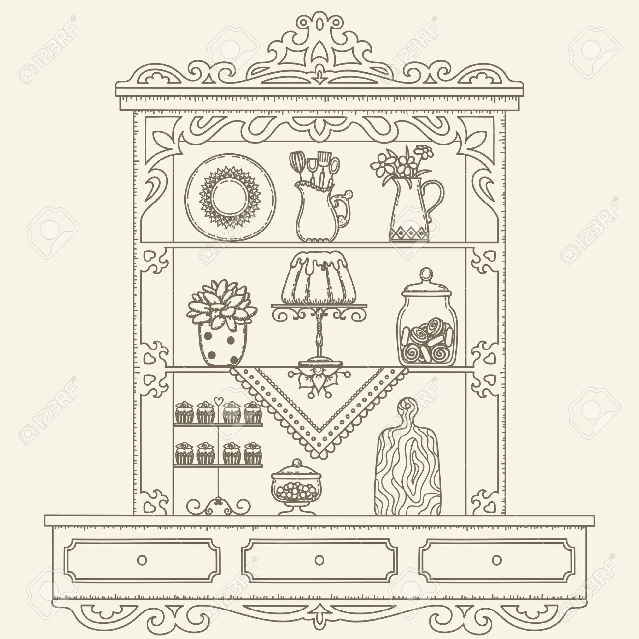 Simple Kitchen Drawing kitchen drawing stock images royalty free images vectors coloring