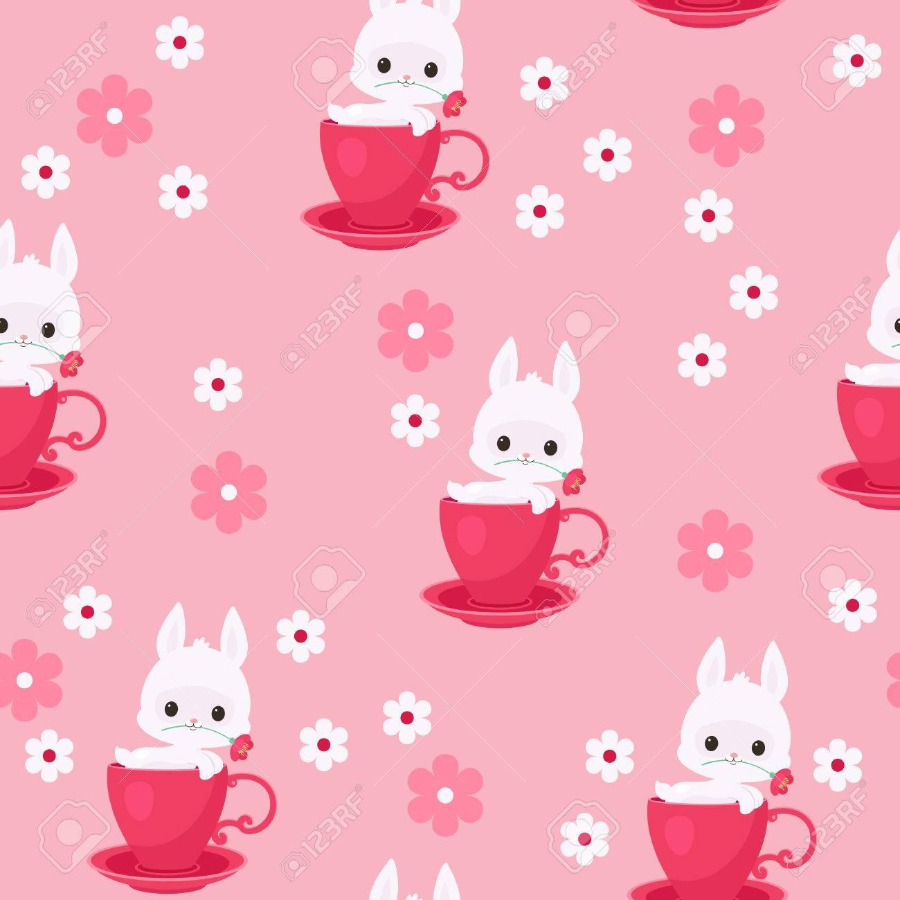 白ウサギ 紅茶 コーヒー カップのベクトル図のウサギ かわいい好奇心うさぎ ウサギのカップから覗く花を保持します シームレスな壁紙パターンのイラスト素材 ベクタ Image