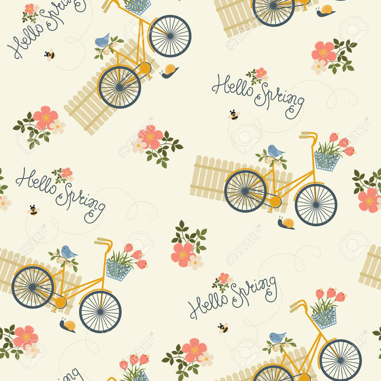 Spring Floral Seamless Wallpaper Bicycle Flowers Lettering