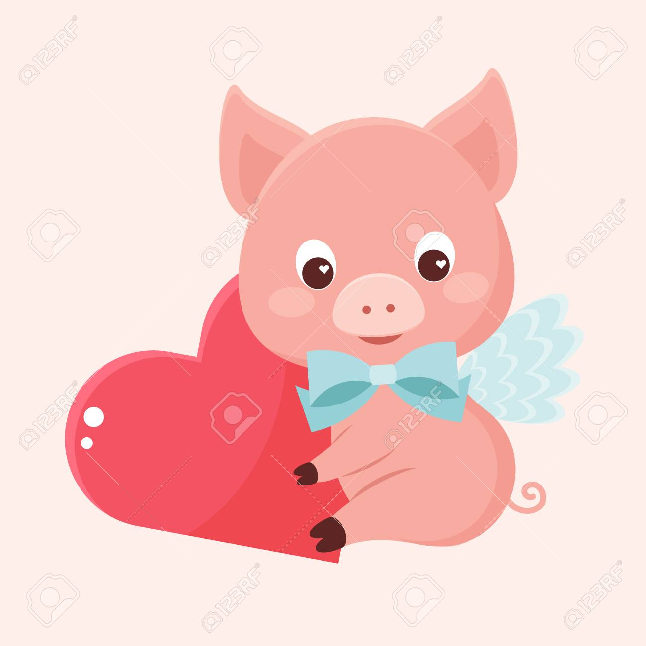 Angel Pig Holding Red Heart Card Poster Template For Valentines Day Vector Illustration