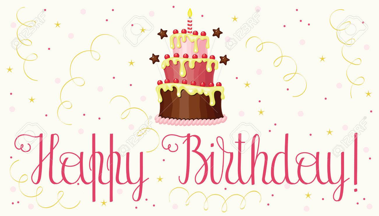 Birthday Greeting Card With Cake And Confetti Happy Hand Writing Lettering