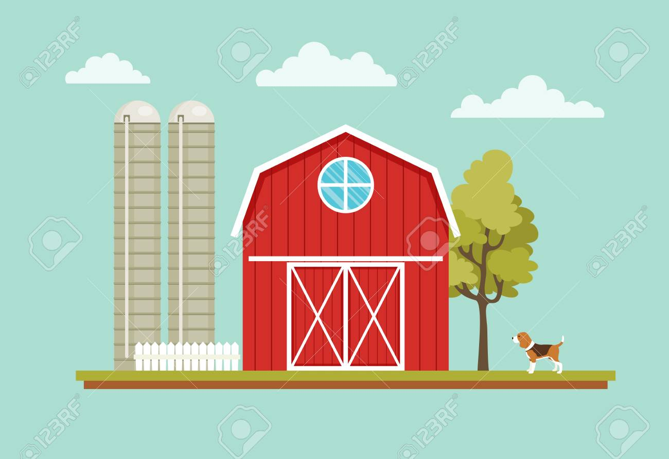 Rural Landscape With A Barn House Dog Tree And Farm Towers Stock Vector