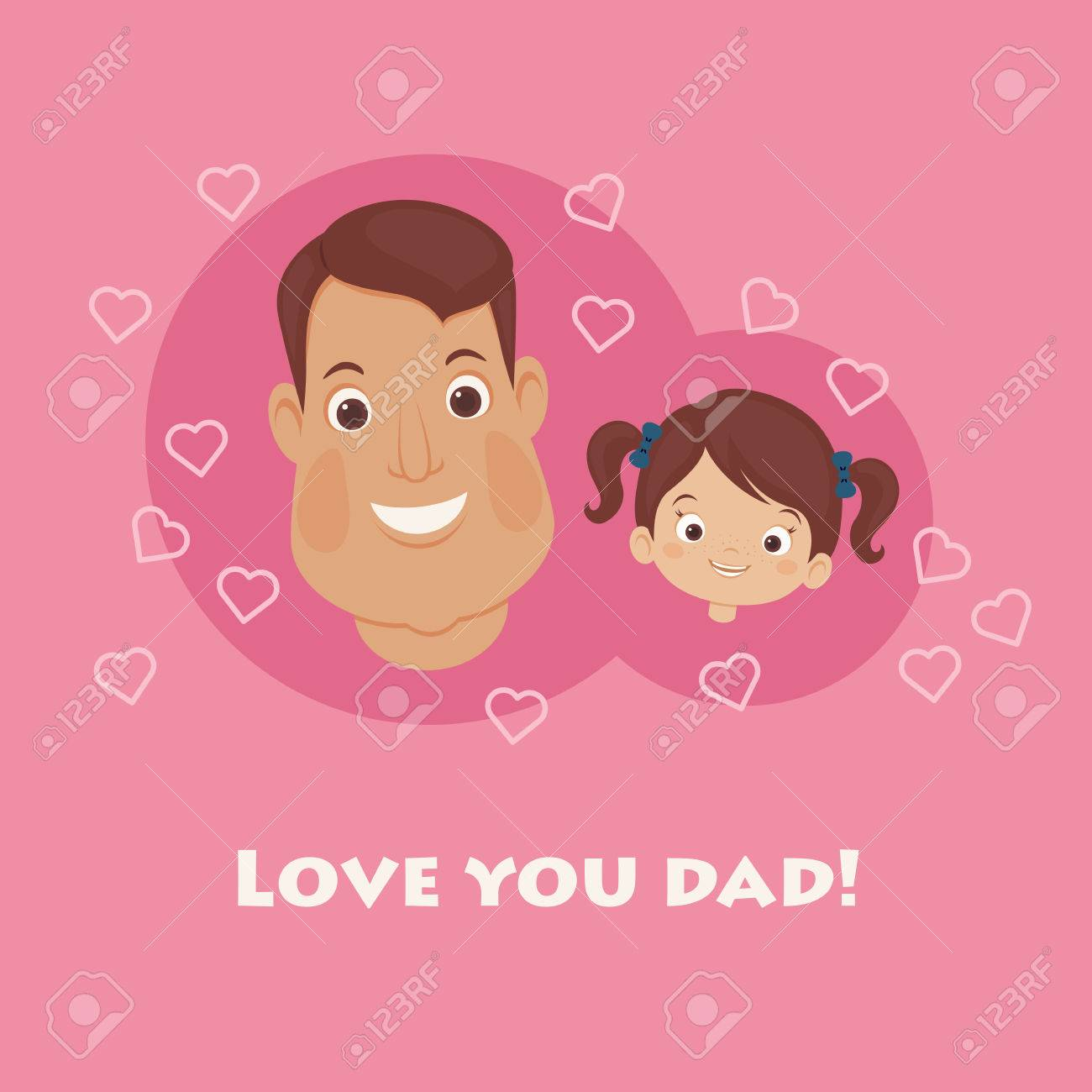 fathers day card happy father and daughter lettering
