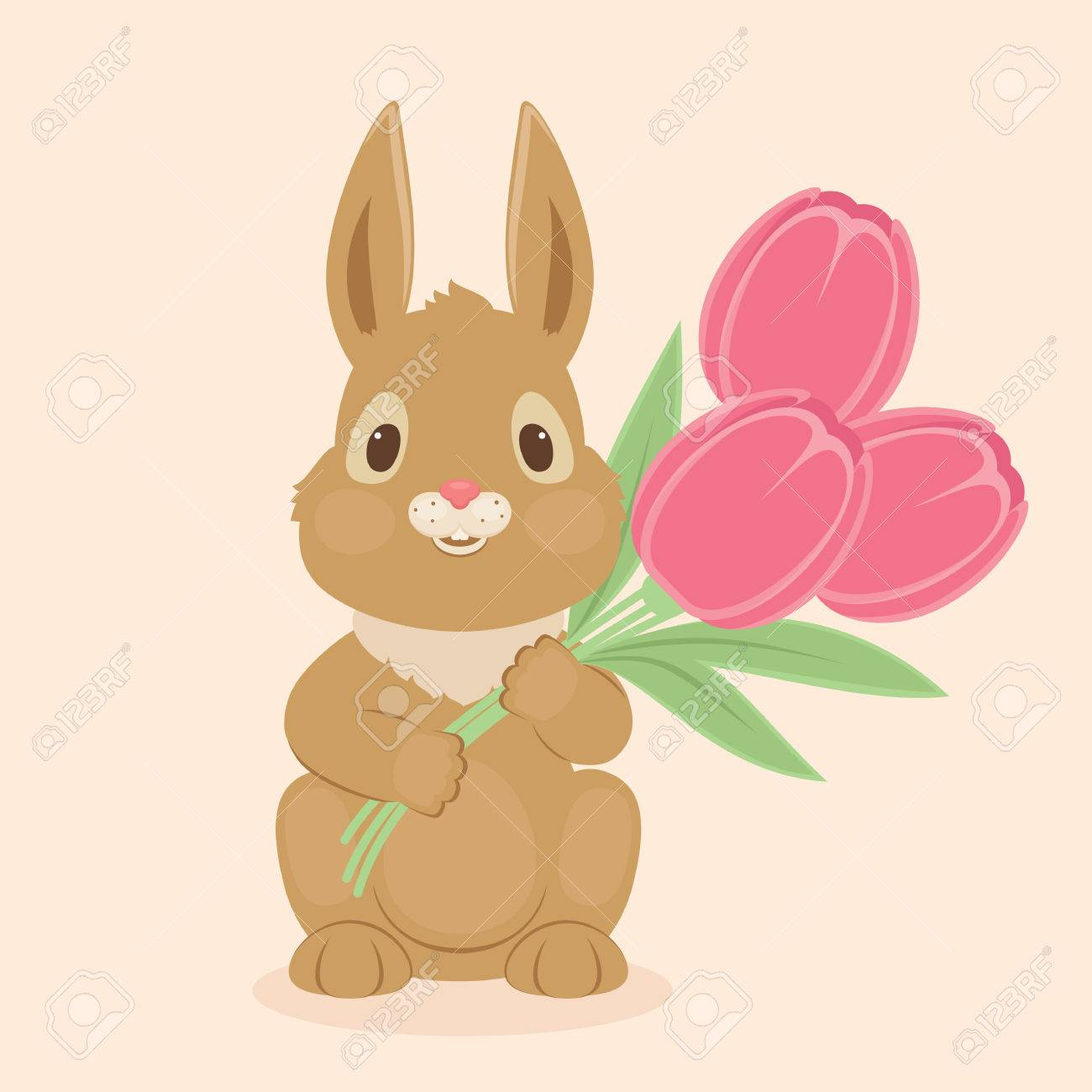 Bunnyrabbit With Tulips Flowers Blank Greeting Card Template