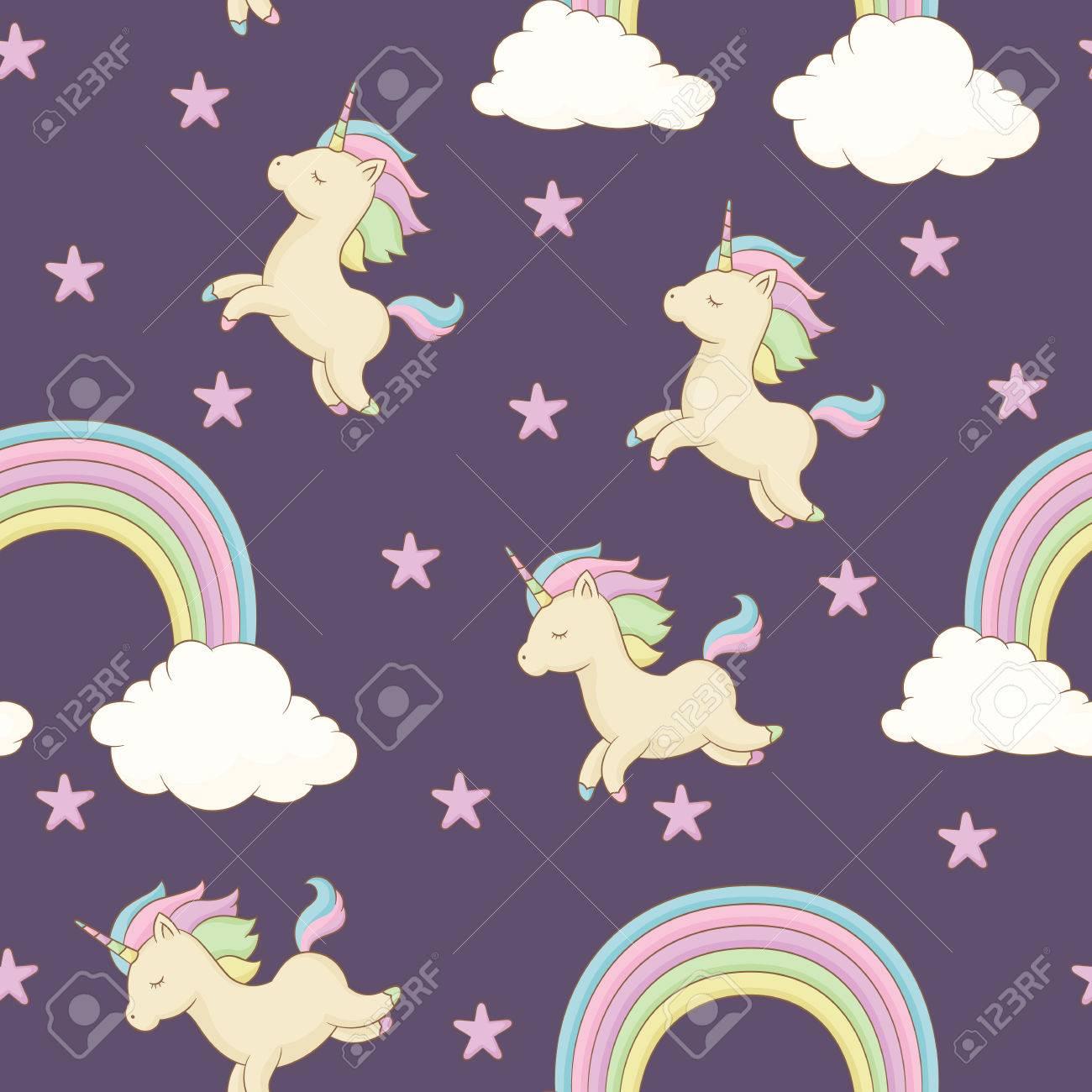 einhorn mit regenbogenmhne sterne und regenbogen mit wolken