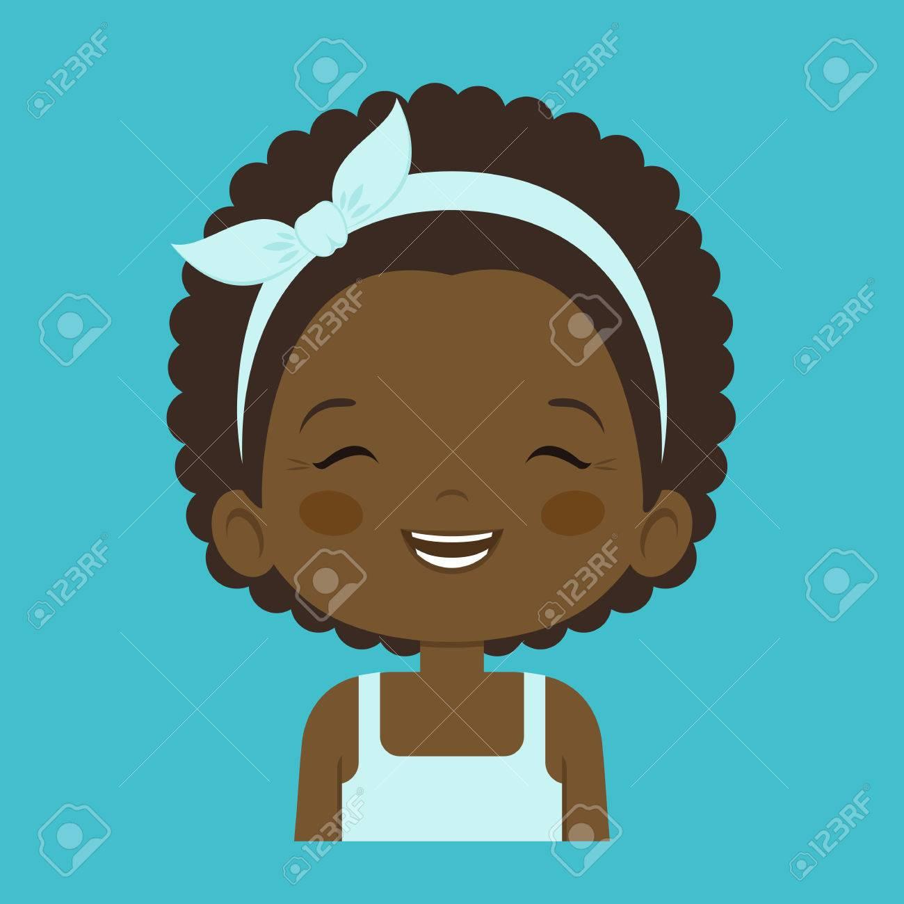 Fillette Africaine Rire Expression Faciale Dessin Animé Vector Illustrations Isolées Sur Fond Bleu Jolie Petite Fille Emoji Riant De La Charge Avec