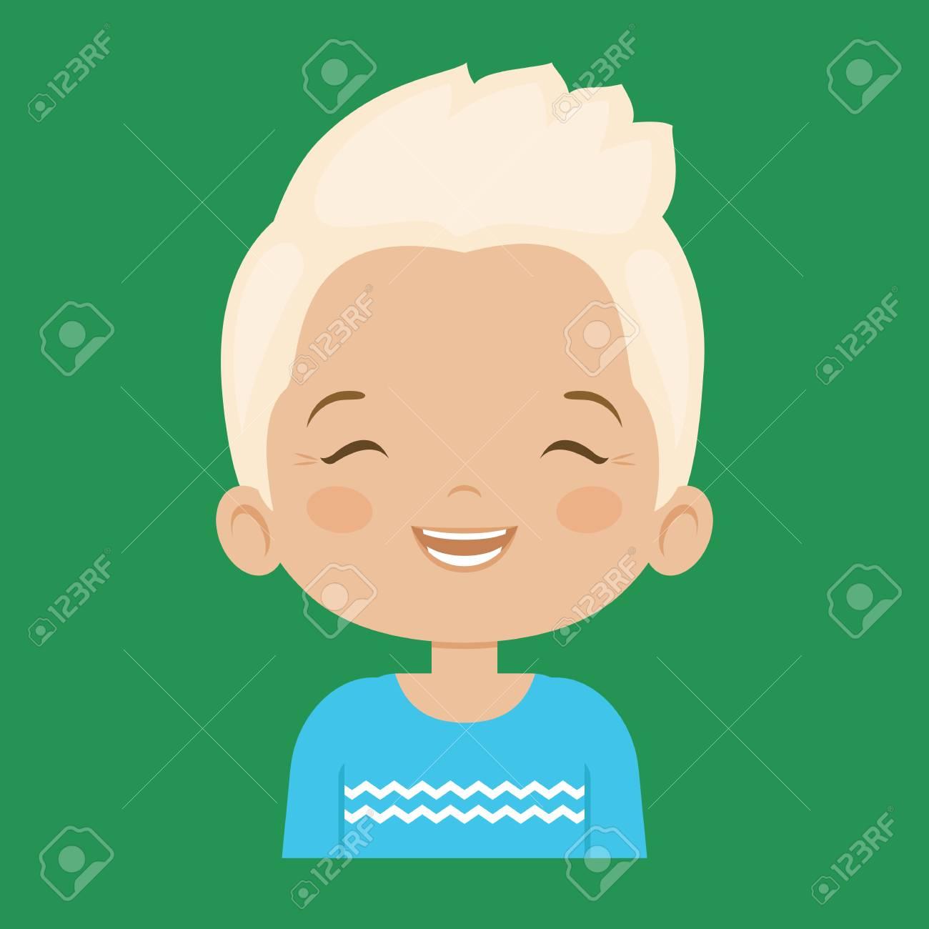Blond Petit Garçon Riant Expression Faciale Illustrations De Vecteur De Dessin Animé Isolées Sur Fond Vert Beau Petit Garçon Emoji En Train De Rire