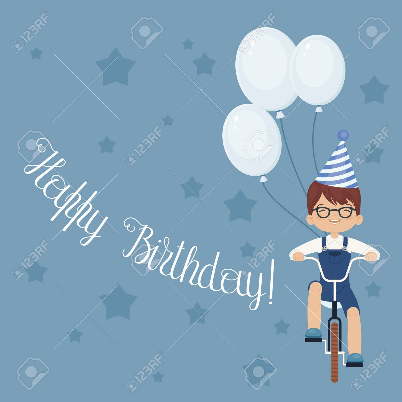 Happy laughing little boy riding a bicycle in party hat with happy laughing little boy riding a bicycle in party hat with balloons happy birthday kristyandbryce Choice Image