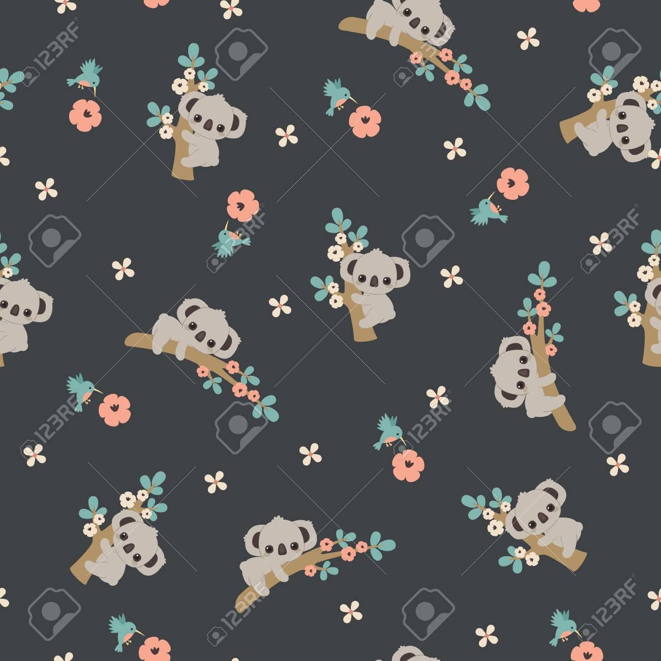 Top Wallpaper Koala Cartoon - 84360453-cute-cartoon-koala-floral-seamless-pattern-wallpaper  Best Photo Reference_775832   .jpg