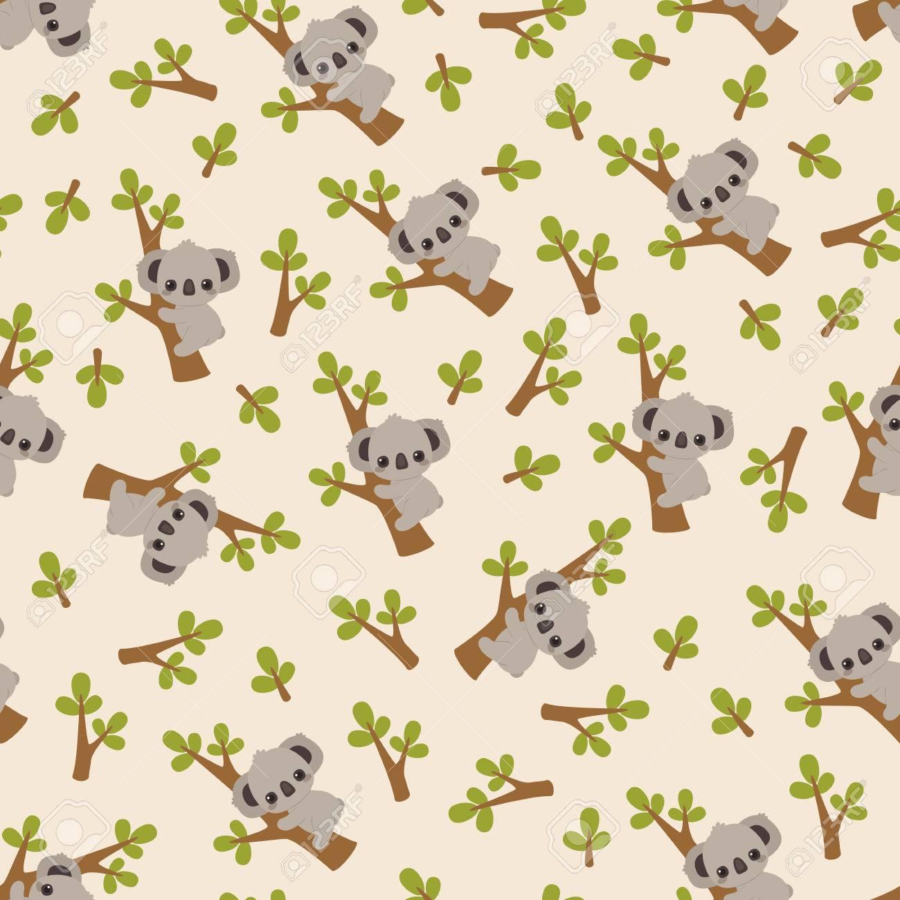 Cute Cartoon Koala On A Tree Pattern Wallpaper Royalty Free Cliparts