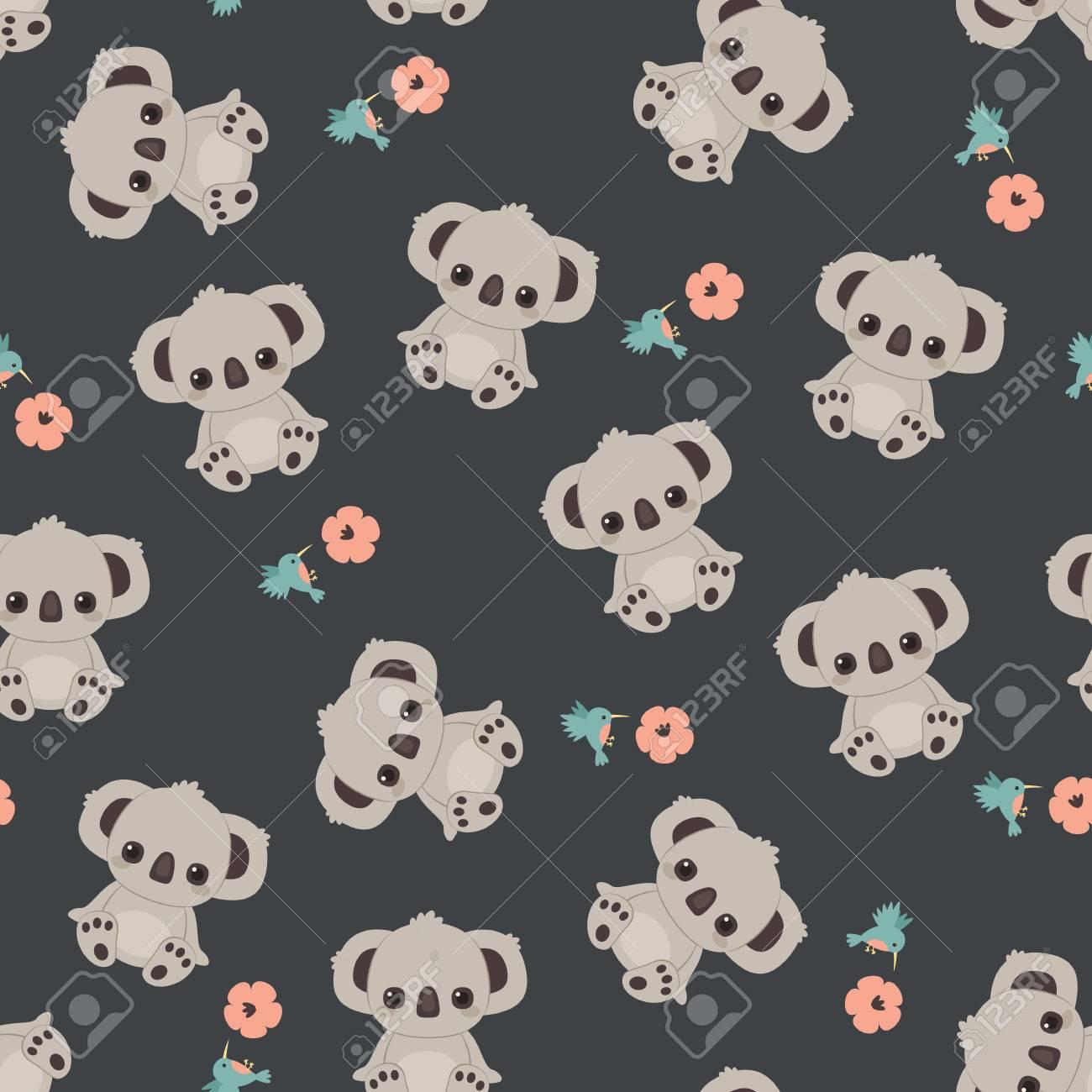 Download Wallpaper Koala Cartoon - 84360454-cute-cartoon-koala-floral-seamless-pattern-wallpaper  Photograph_76818   .jpg
