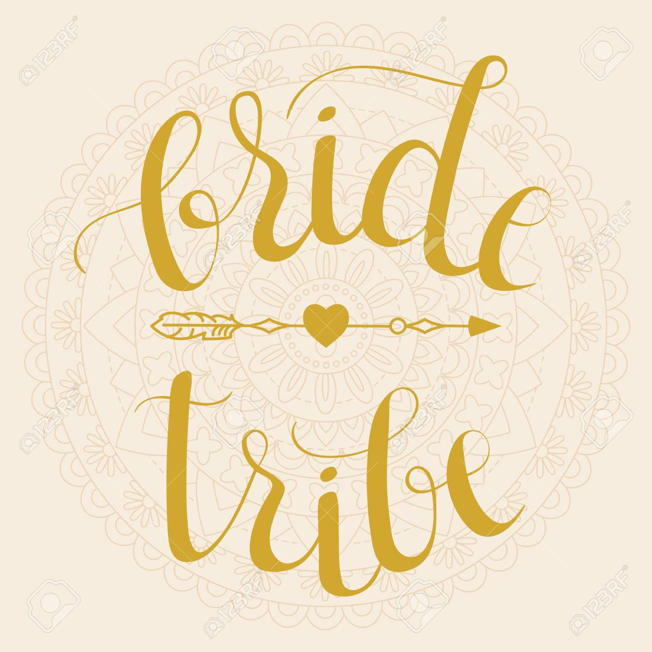 bride tribe bridal party wedding hand lettering phrase with
