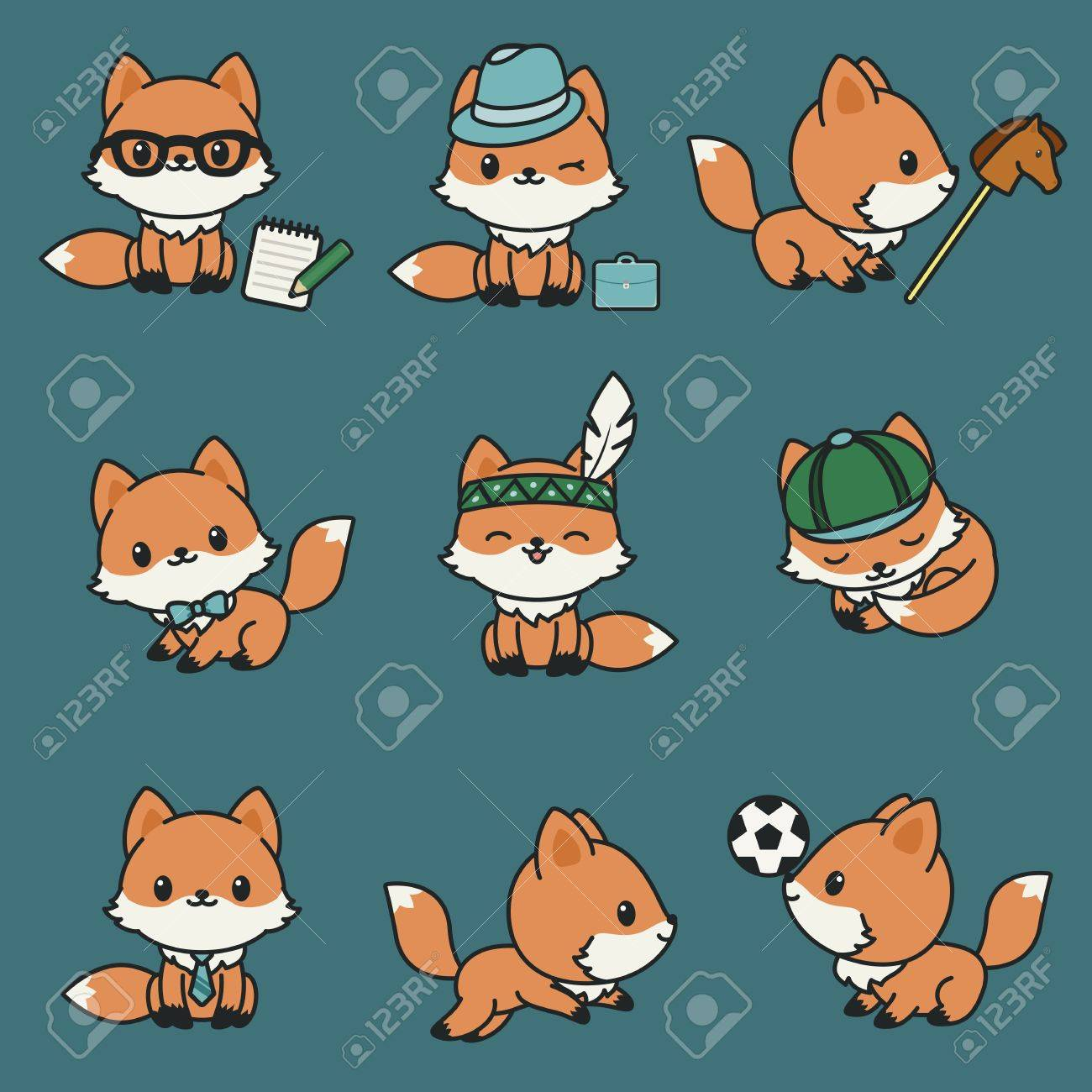 Mignons Renards Kawaii Set Dicônes Vectorielles