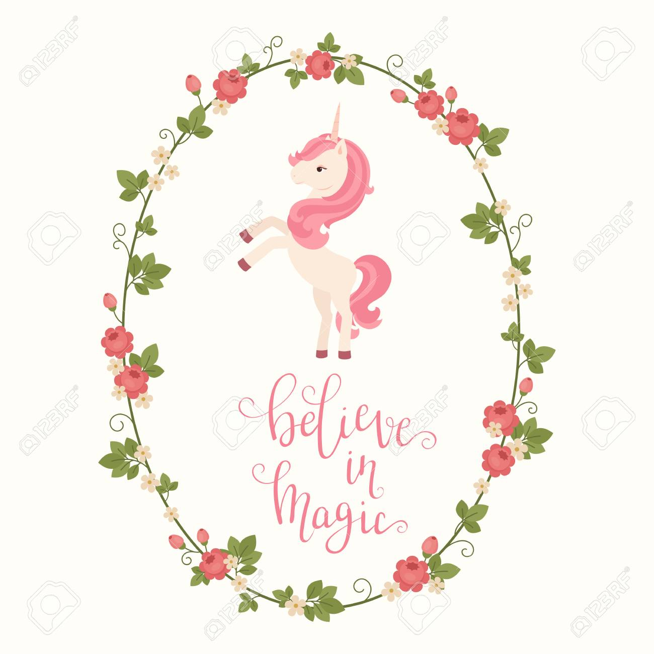 Unicorn In A Floral Frame And Hand Lettering \
