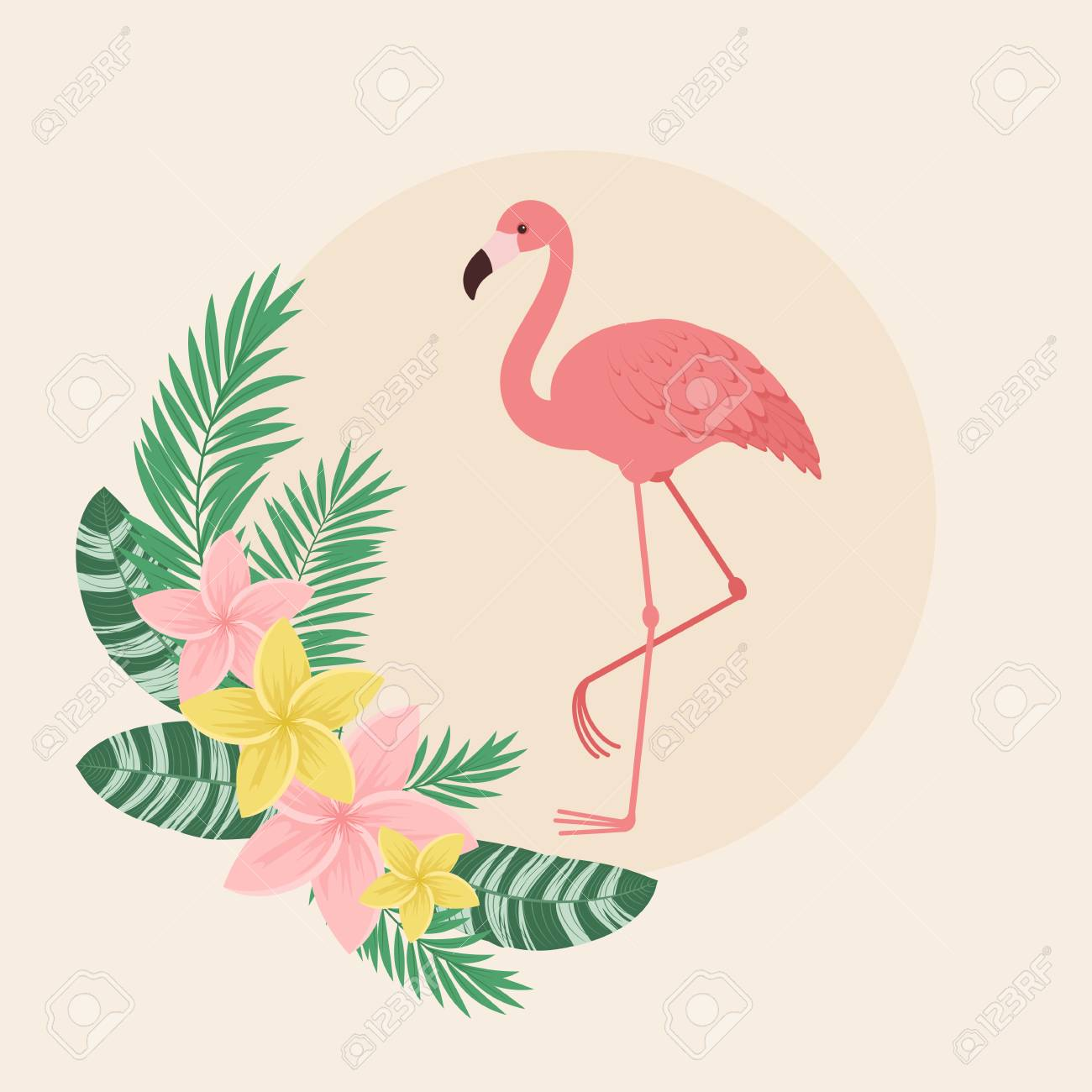 flamingo with tropical flowers and leaves. vector art royalty free  cliparts, vectors, and stock illustration. image 101749606.  123rf