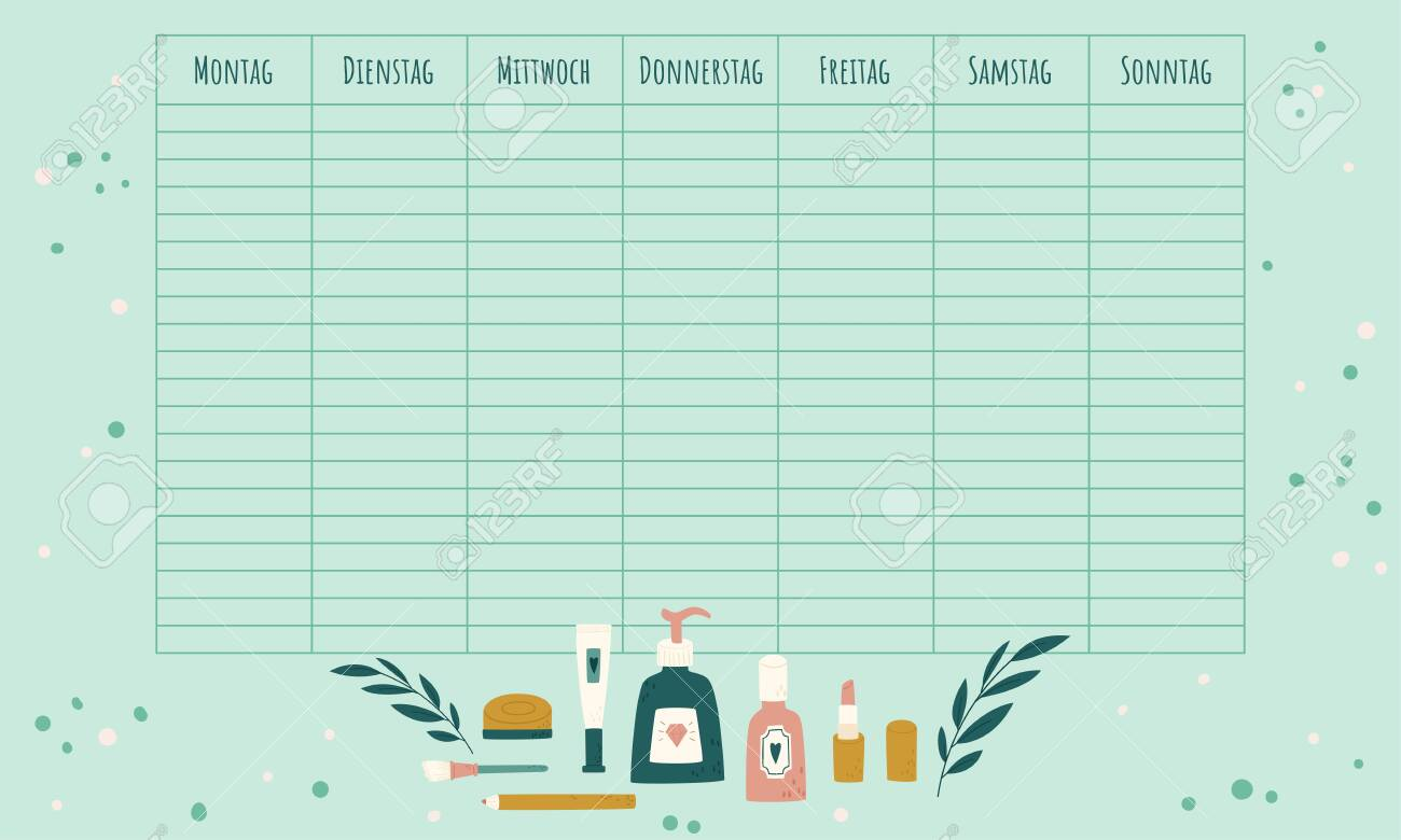 German Blank Weekly Calendar Weekly Planner Template For German Royalty Free Cliparts Vectors And Stock Illustration Image 146858130