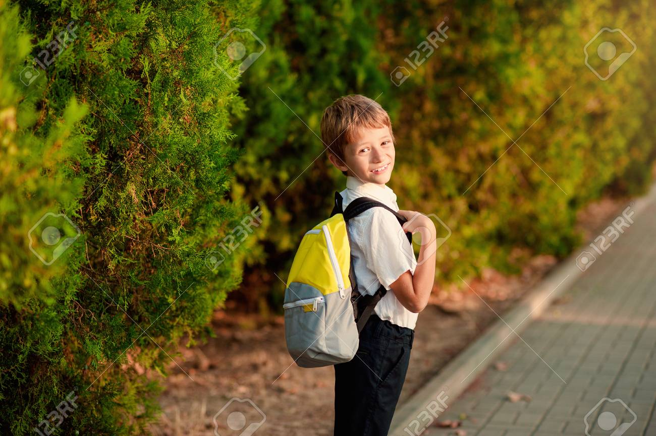 First Day At School. Elementary Student, Little Boys, Backpack ...