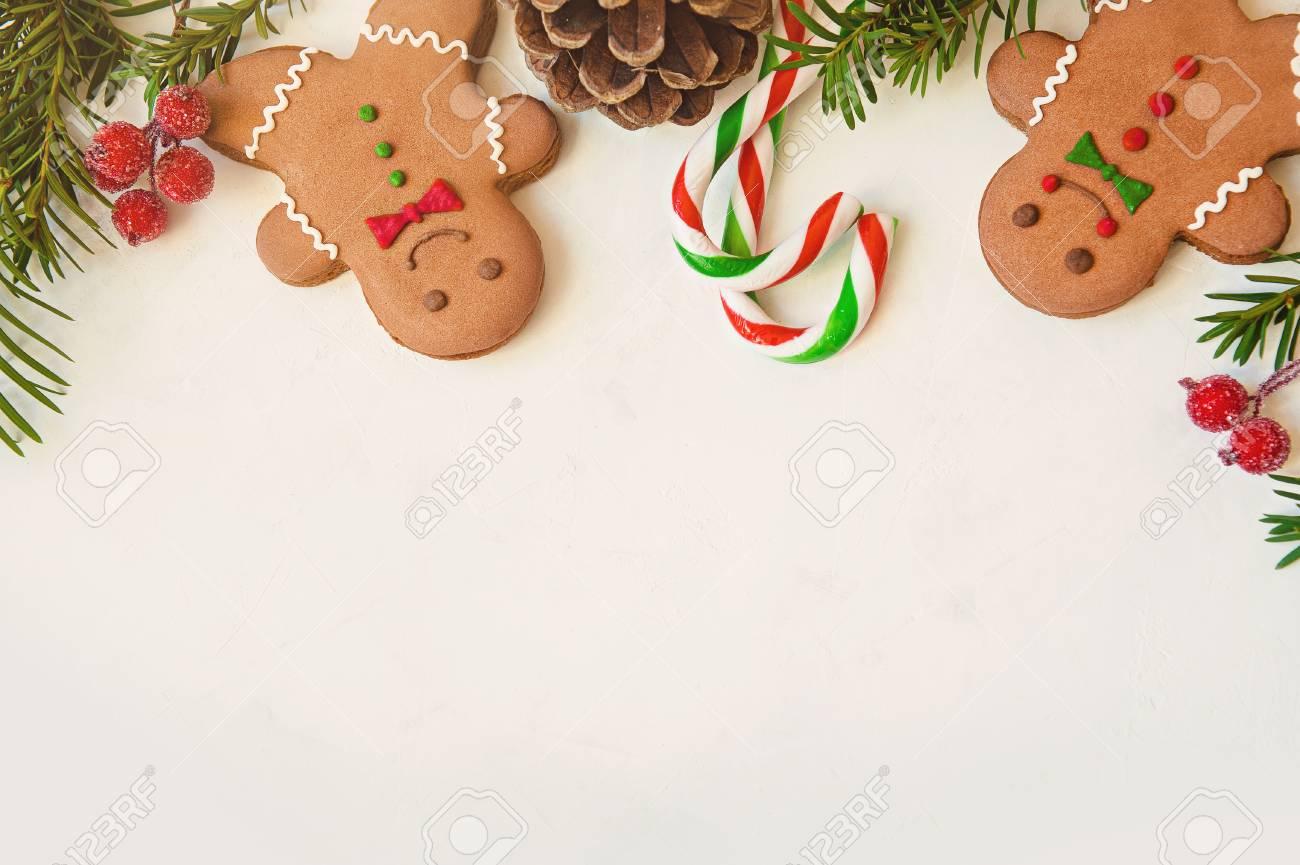 Beautiful Christmas Background.Beautiful Christmas Background With Gingerbread Men Christmas