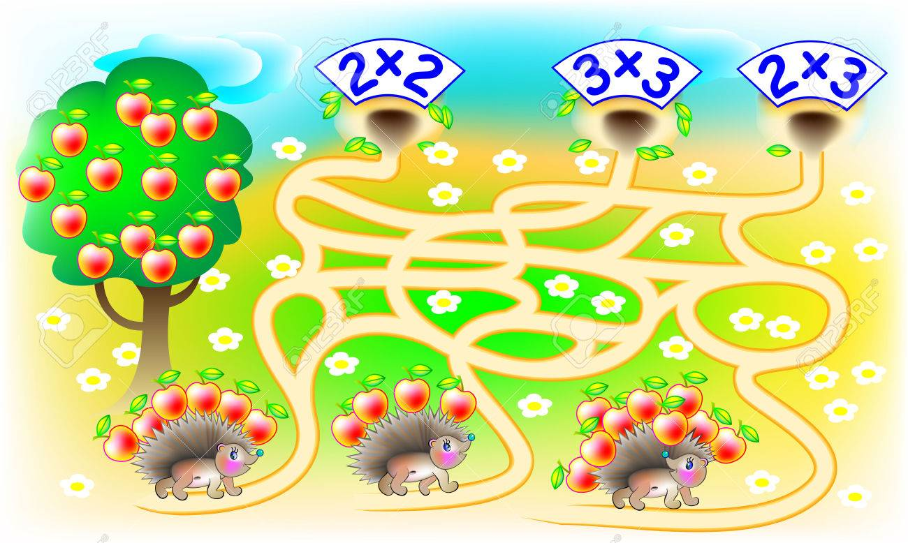 Exercises for children with multiplication - need to solve examples, find the home for each hedgehog and draw the lines on relevant track. Developing skills for counting. Vector image. - 64613286