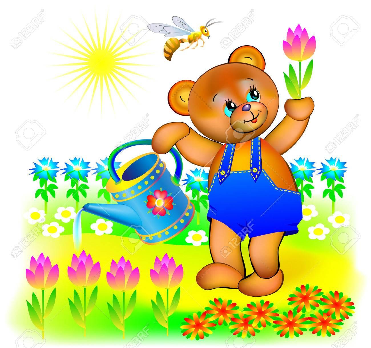 Illustration Of Little Bear Watering Spring Flowers Vector Cartoon