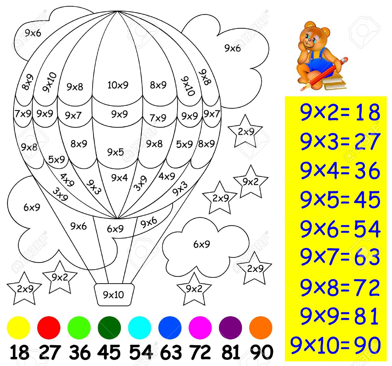 Multiplication table 20x20 images periodic table images multiplication table stock photos royalty free multiplication exercise for children with multiplication by nine need to gamestrikefo Images